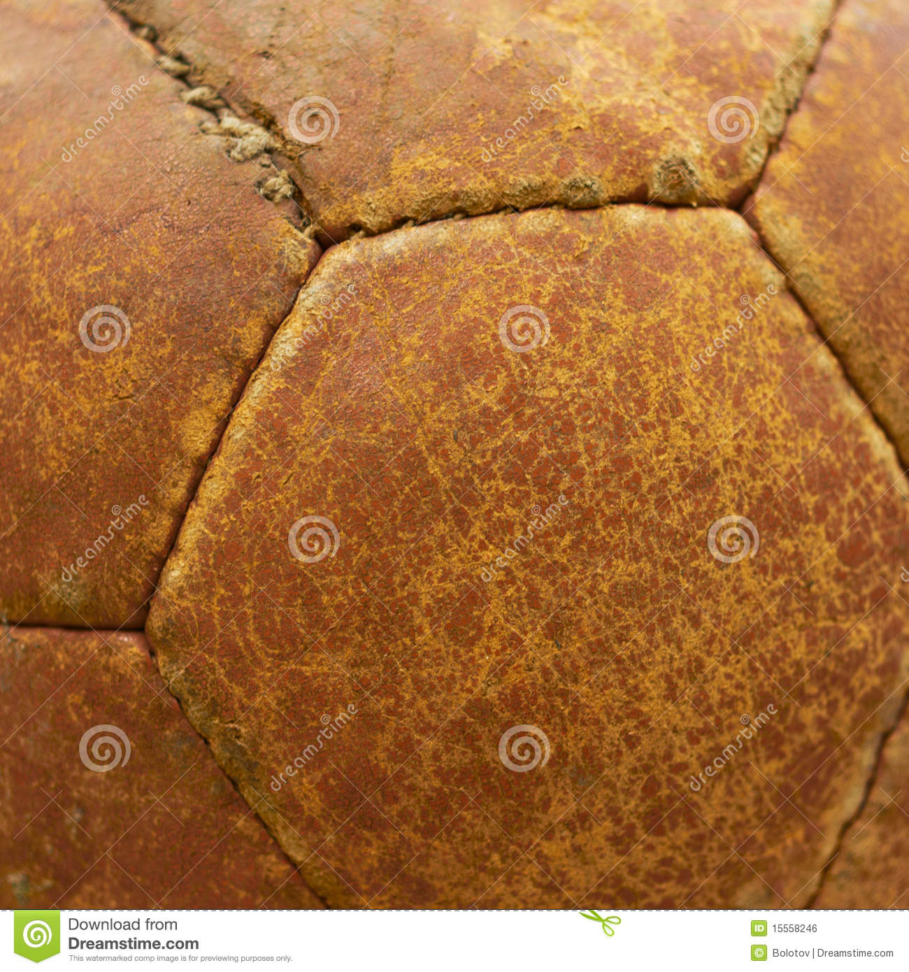 Leather texture of an old football ball.