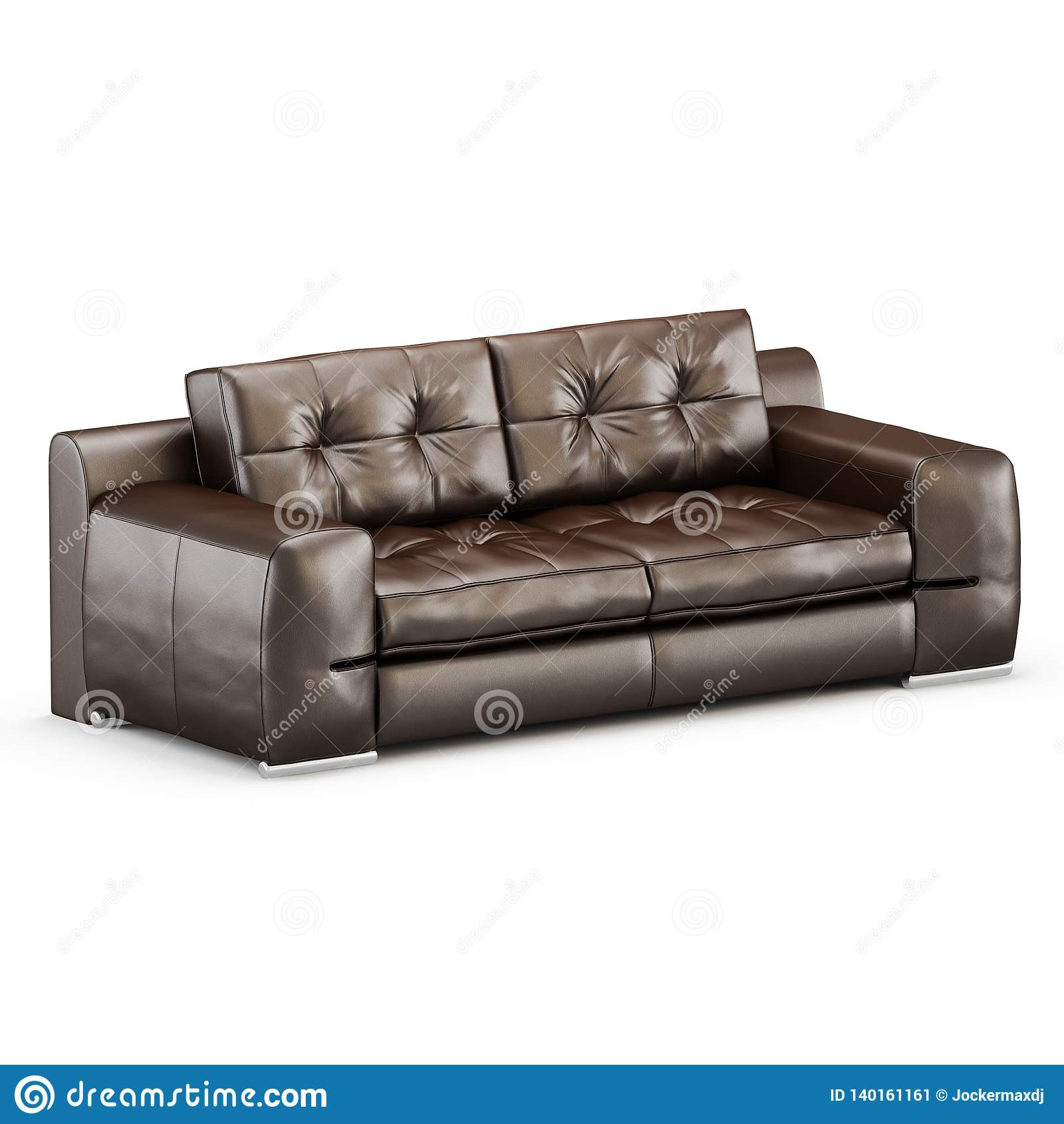 Leather Two Seater Sofa On A White Background 3d Rendering Stock