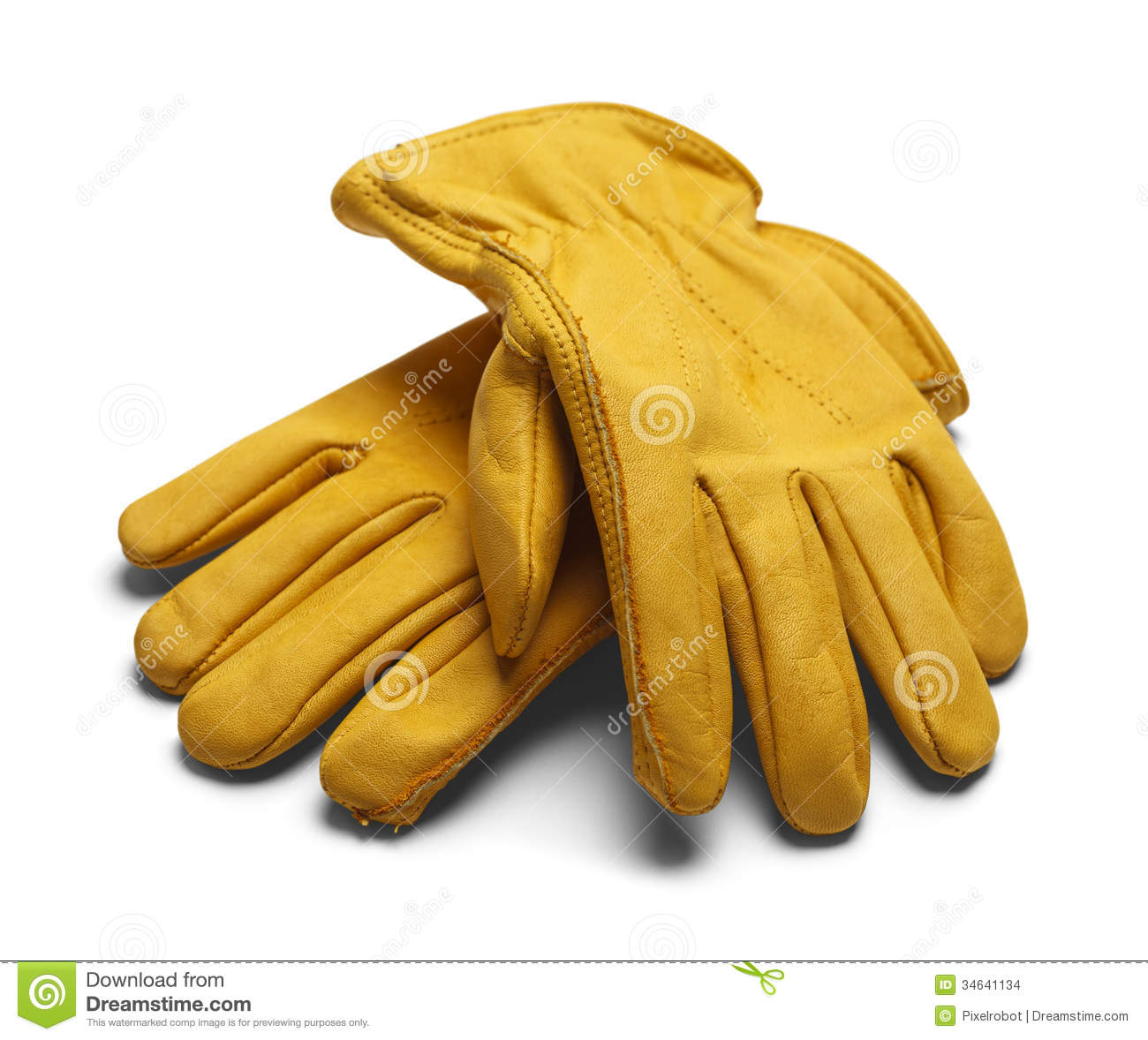 Yellow Construction Work Gloves on White Background.