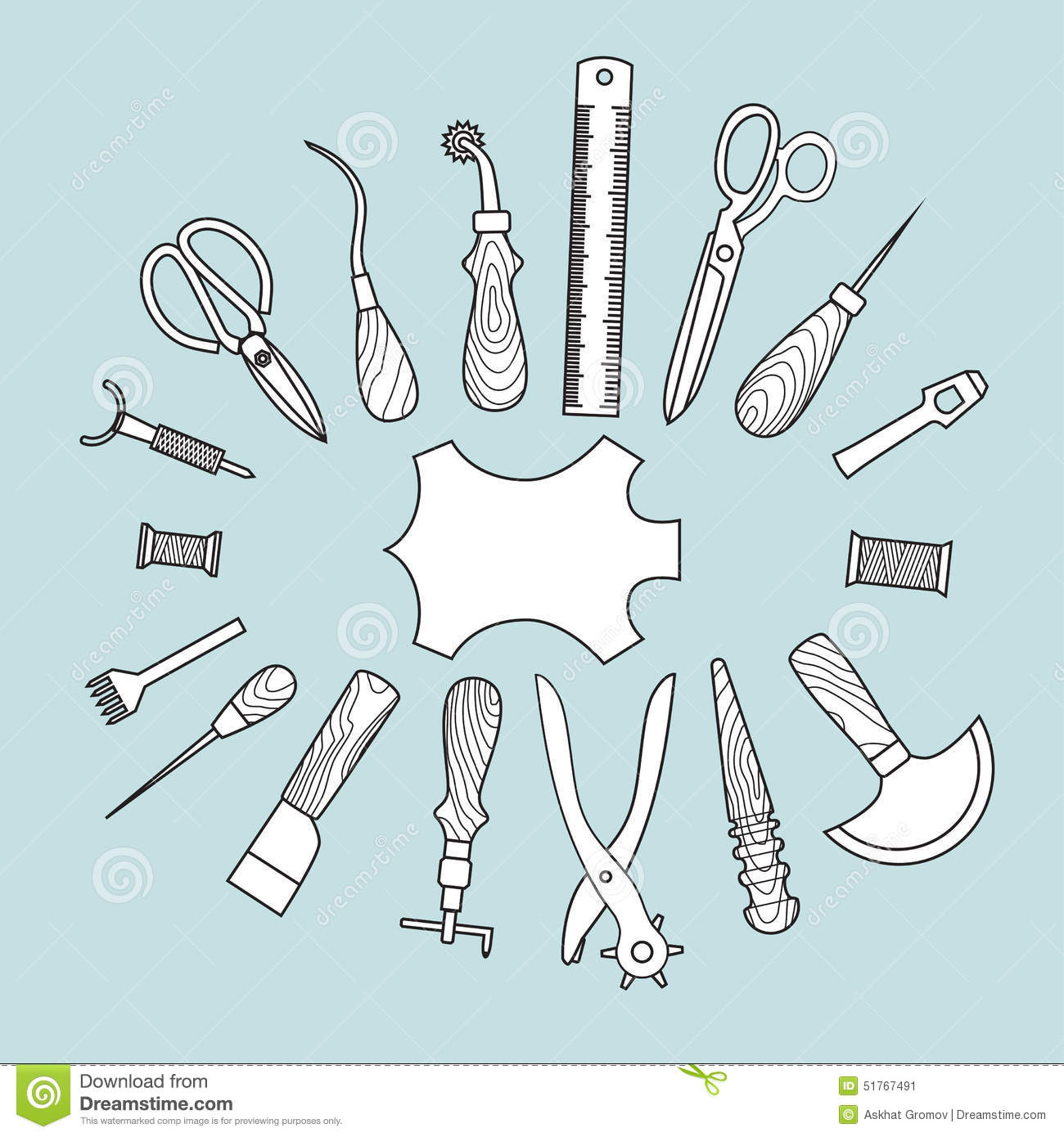 Leather Working Tools Vector Illustration Stock Vector ...