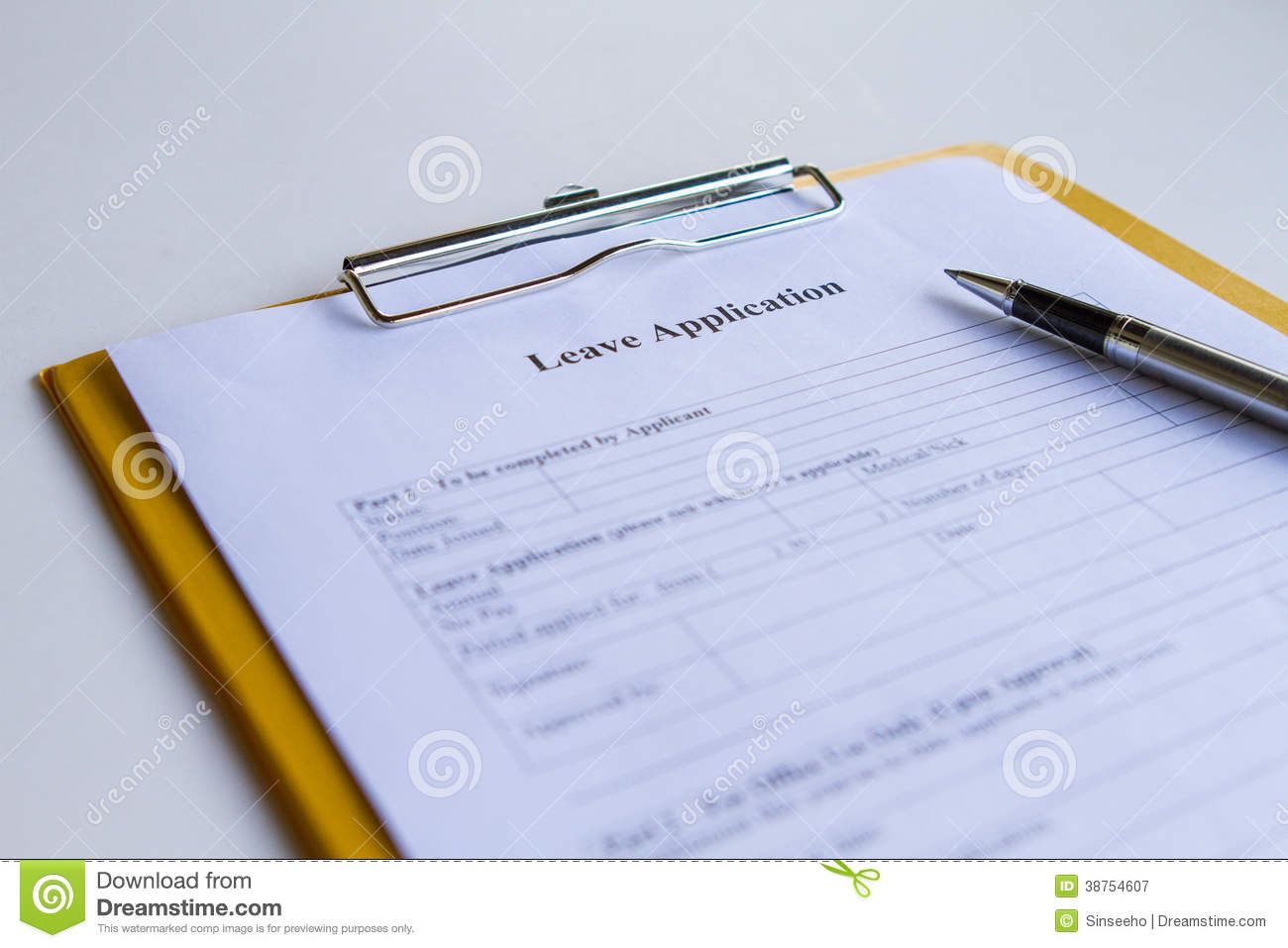 leave application form royalty stock photography image leave application form