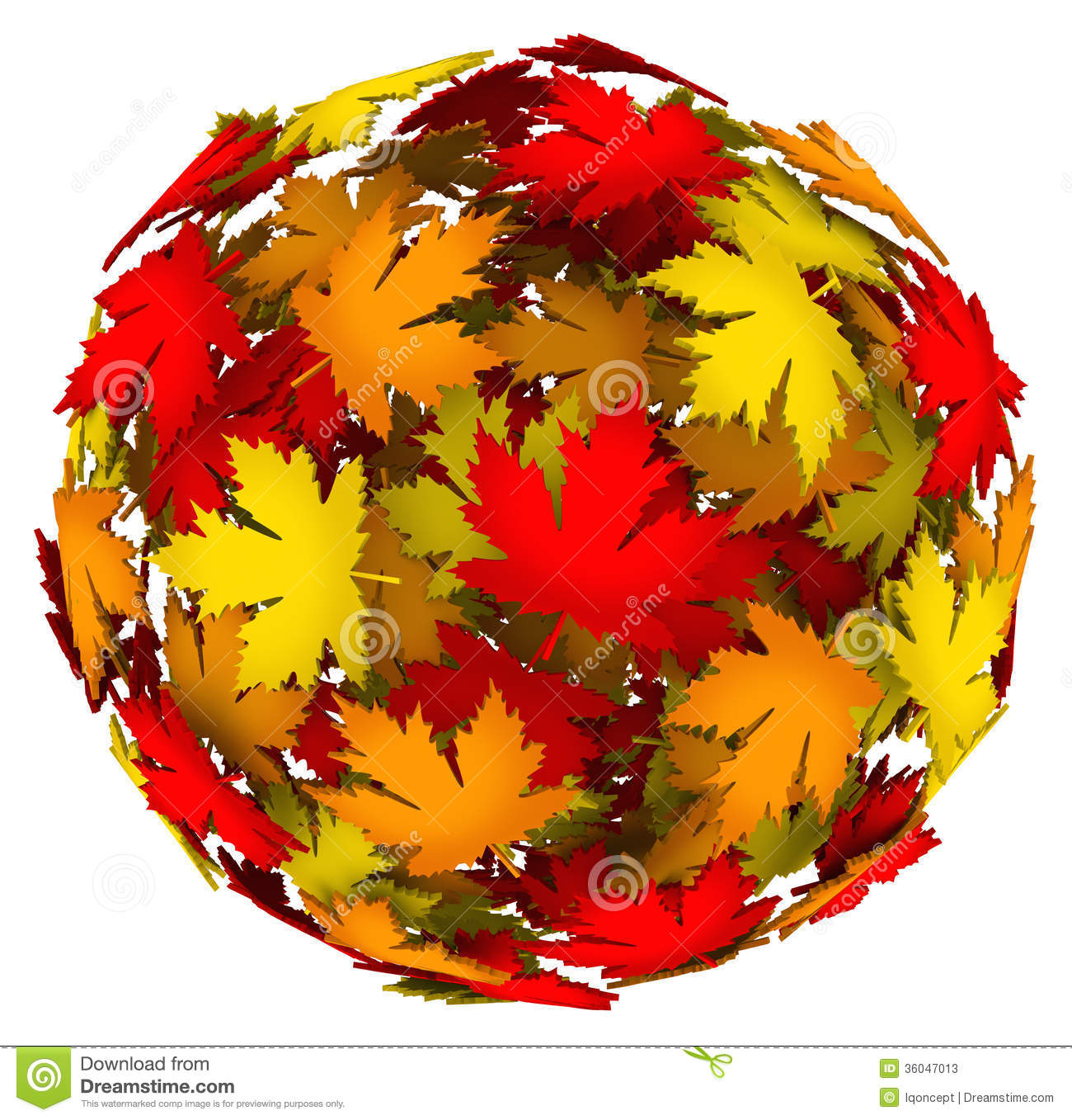 Leaves Changing Color Autumn Fall Leaf Ball Stock Illustration