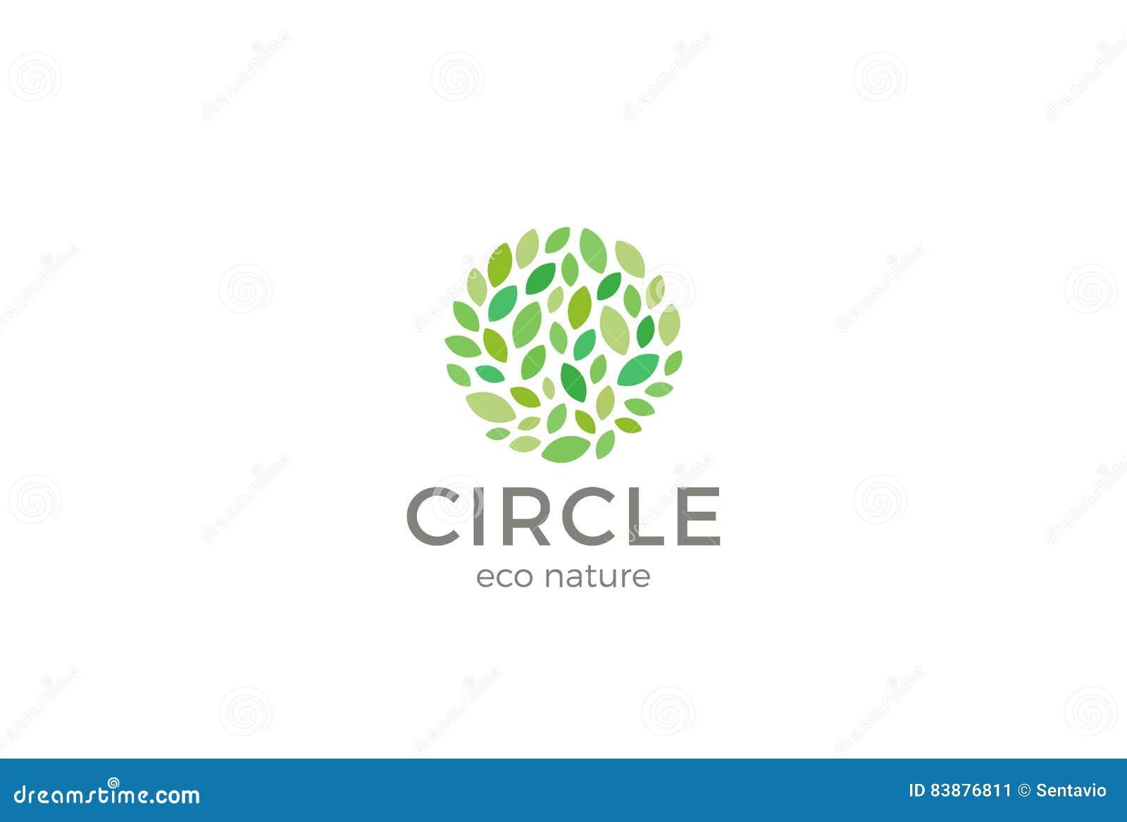leaves eco logo circle shape design vector template