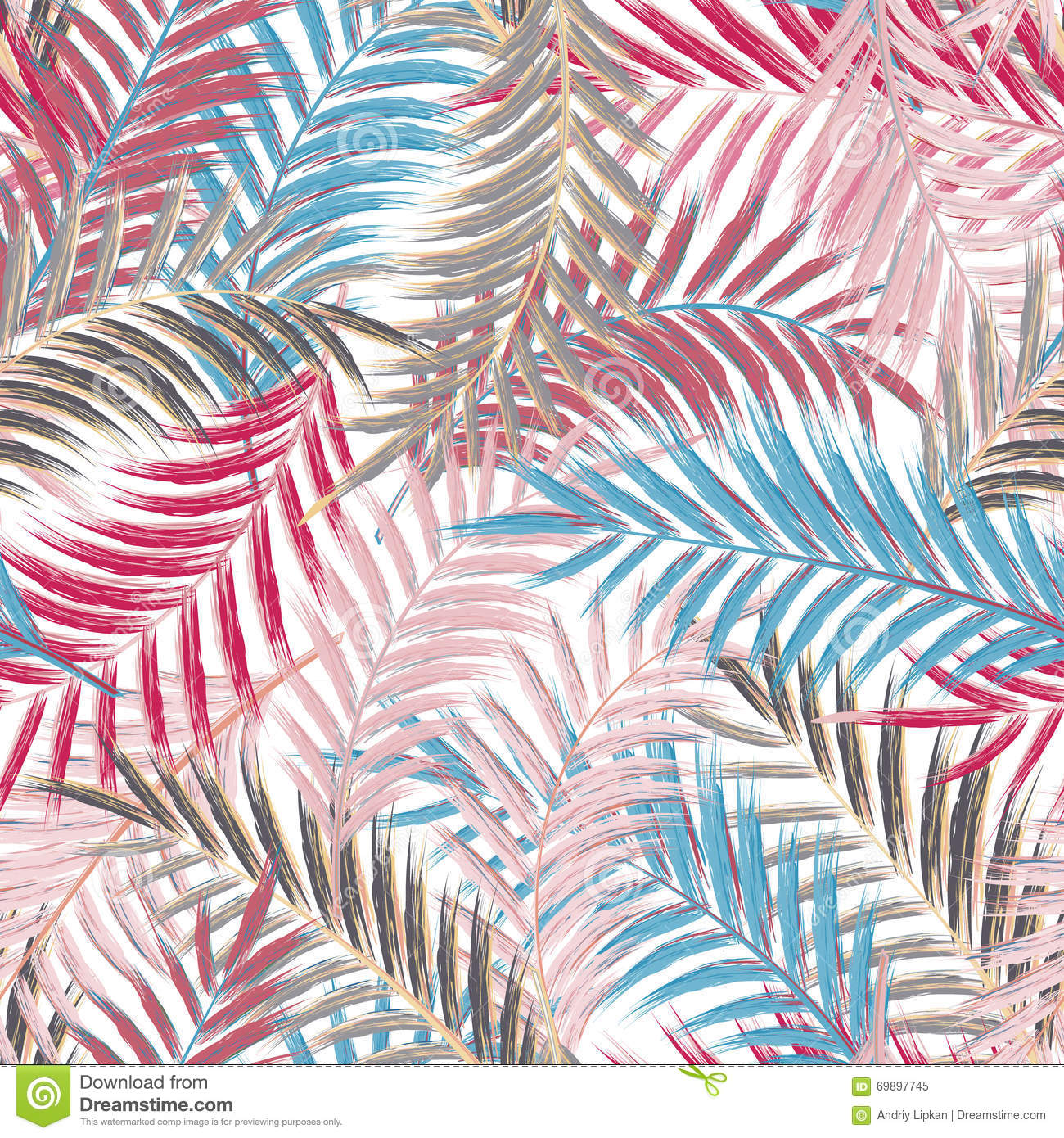 leaves of palm tree seamless pattern palm leaf in violet on