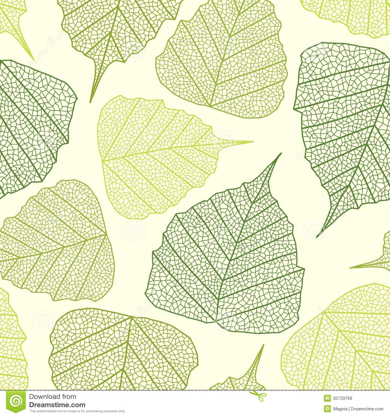 Seamless pattern with textured leaves. Vector illustration.