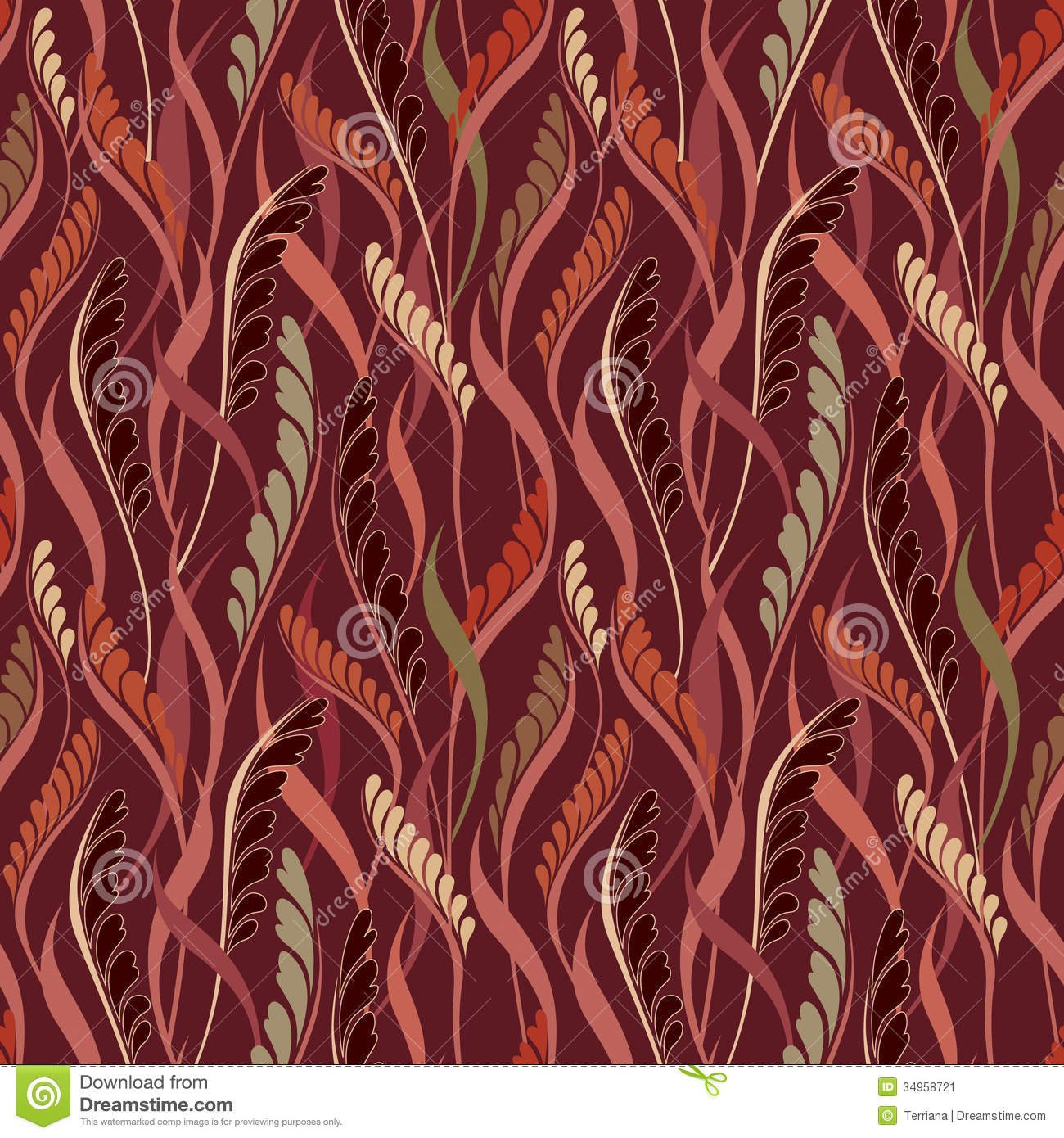 Line Texture Seamless : Leaves scroll seamless background floral line texture