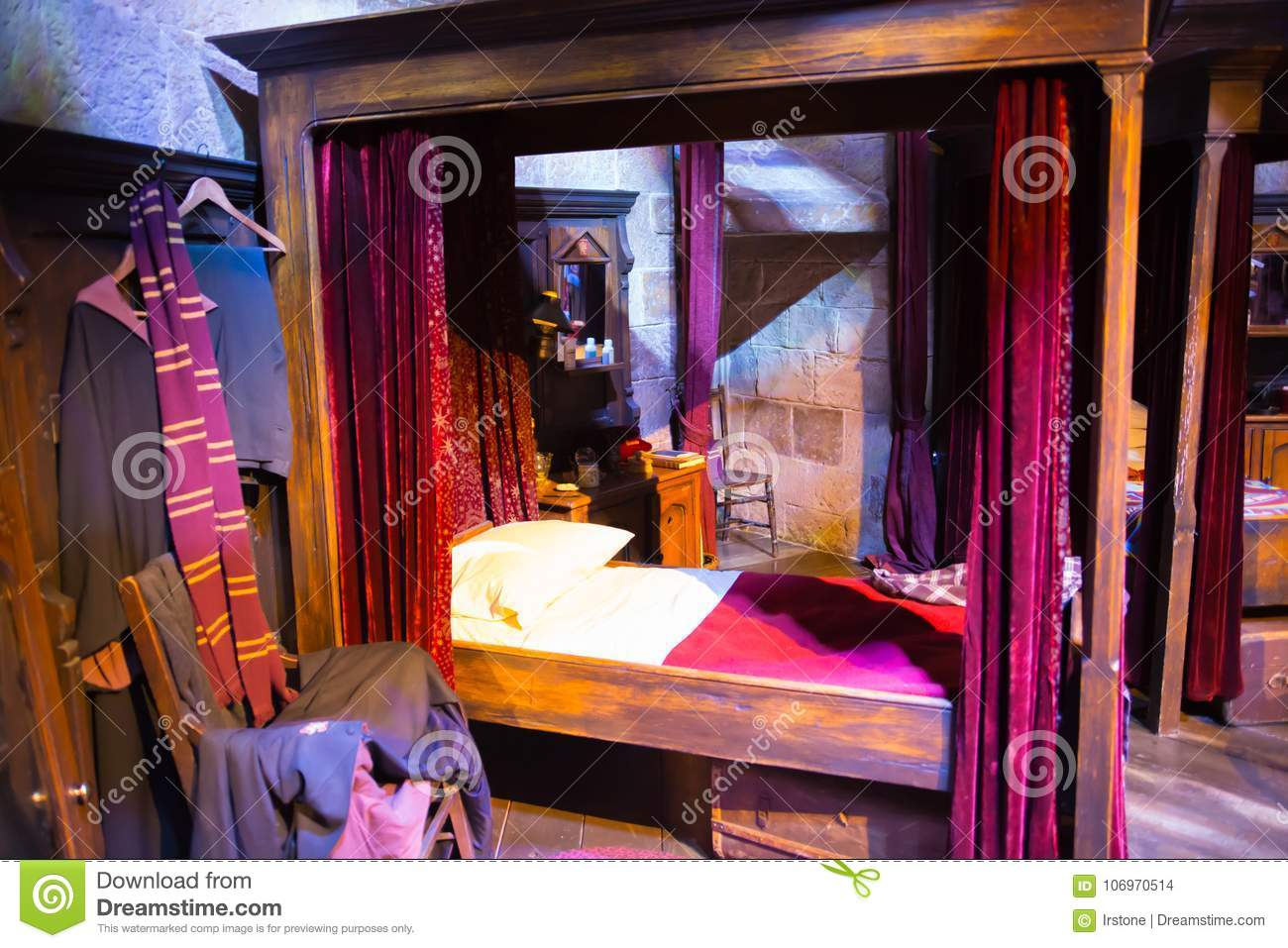 Interior Of Student S Bedroom Harry Potter S Bed Decoration