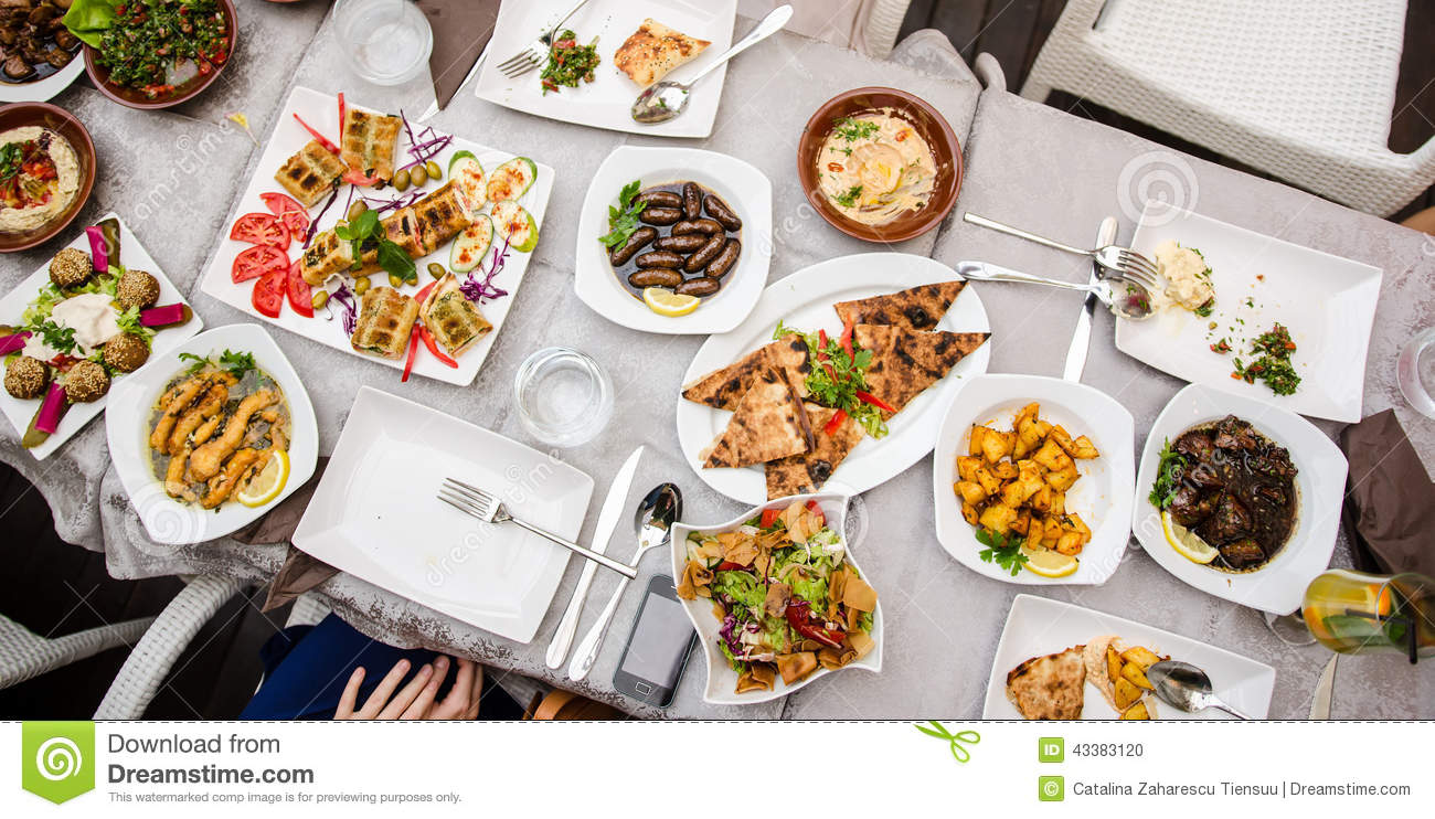 Lebanese food at the restaurant stock photo image 43383120 for At the table restaurant