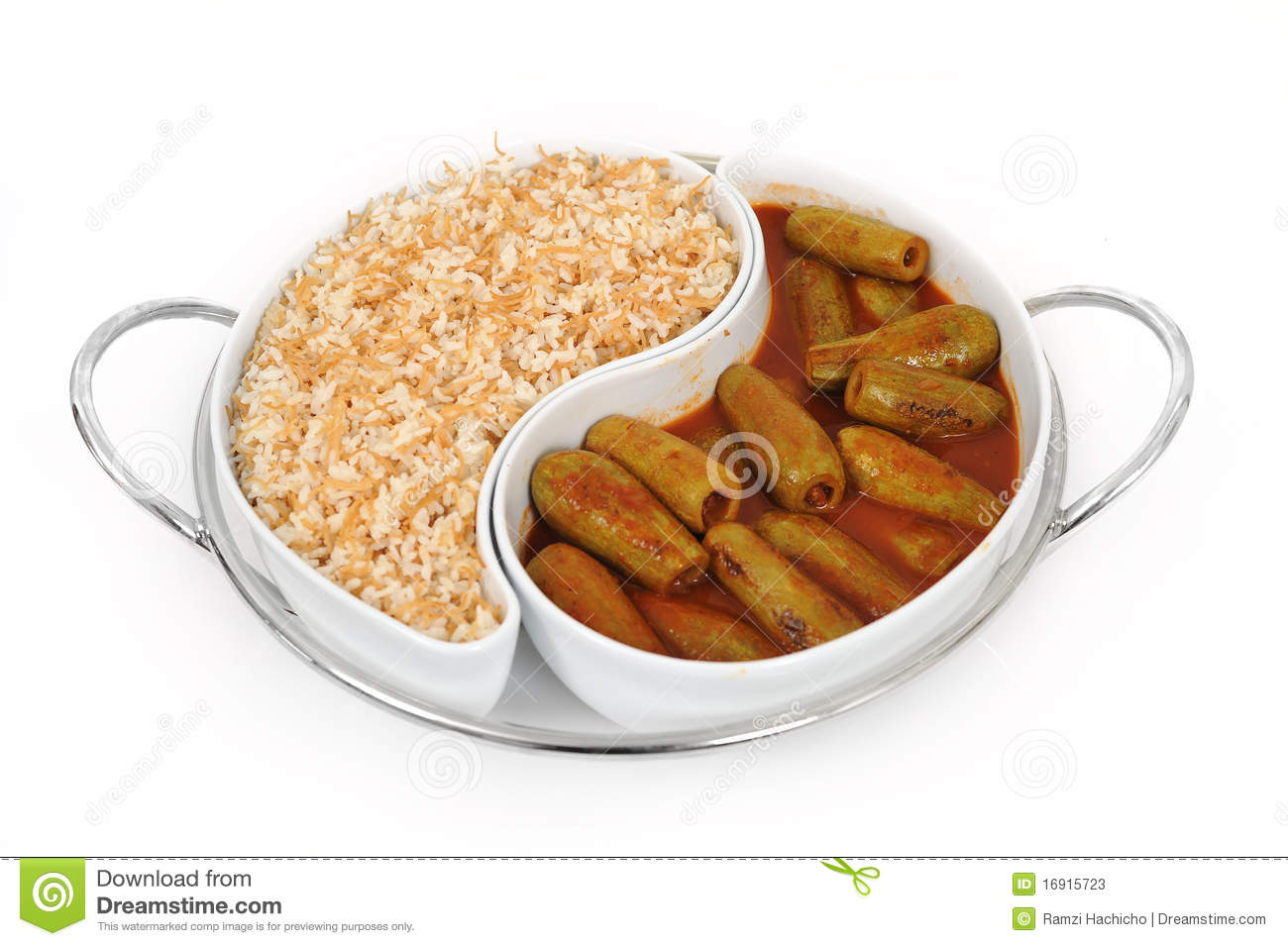 Lebanese food of stuffed zucchini and rice stock image for Arabic cuisine food