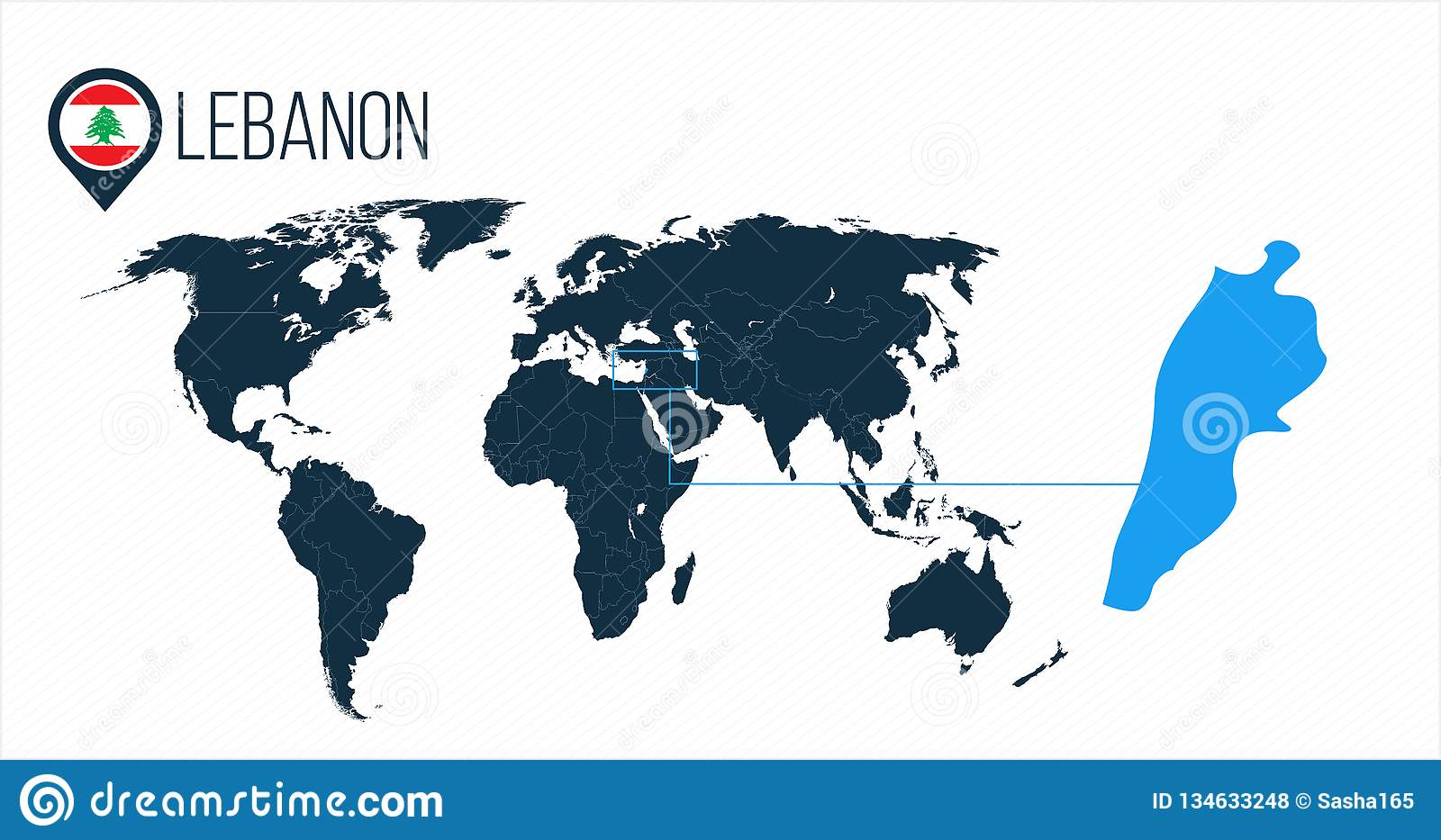 Lebanon Location On The World Map For Infographics All World