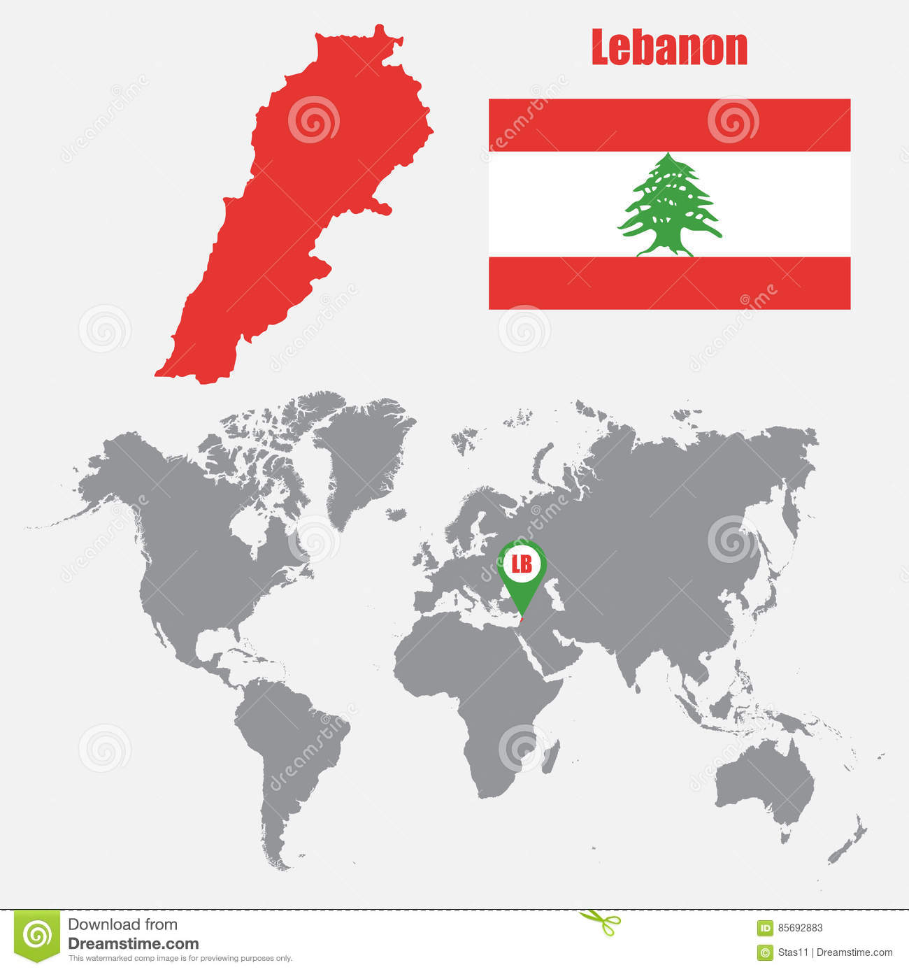 Lebanon Map On A World Map With Flag And Map Pointer. Vector ...
