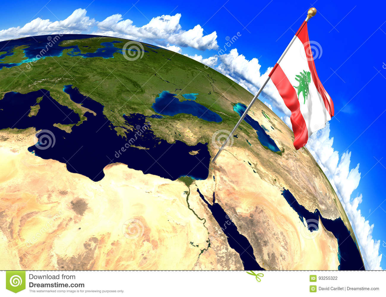 Lebanon National Flag Marking The Country Location On World Map 3d
