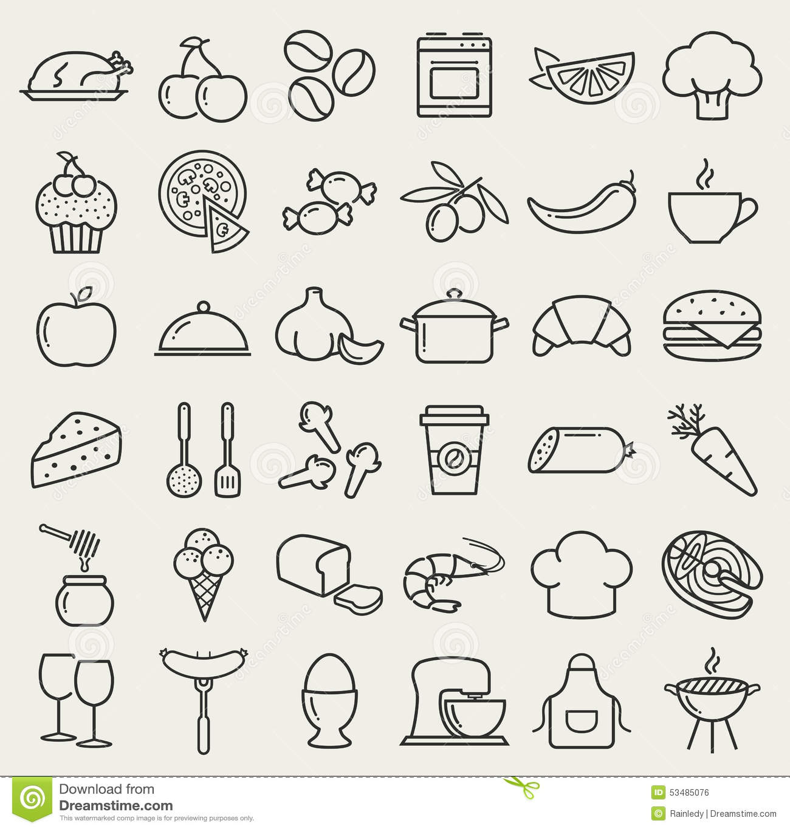 Lebensmittel Und Kochen Linie Ikonen Karikatur Polar Mit