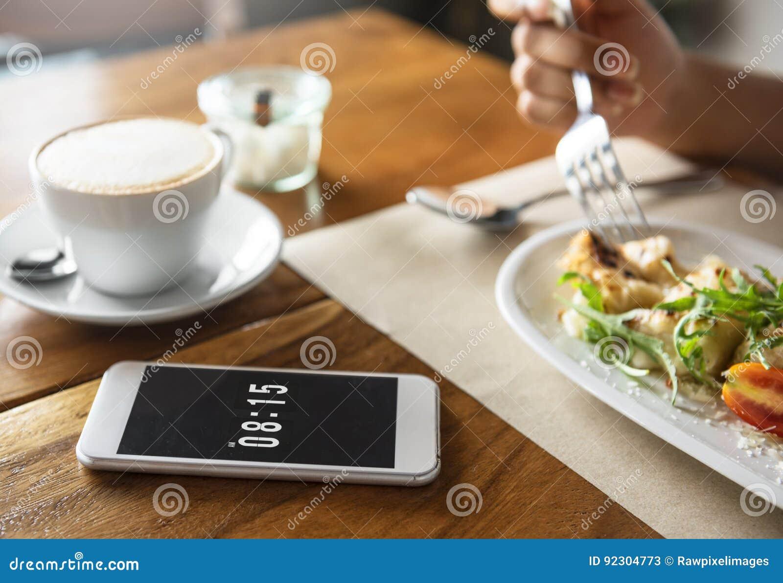 Lebensmittel-Verpflegung, Die Das Handy-Café-Restaurant