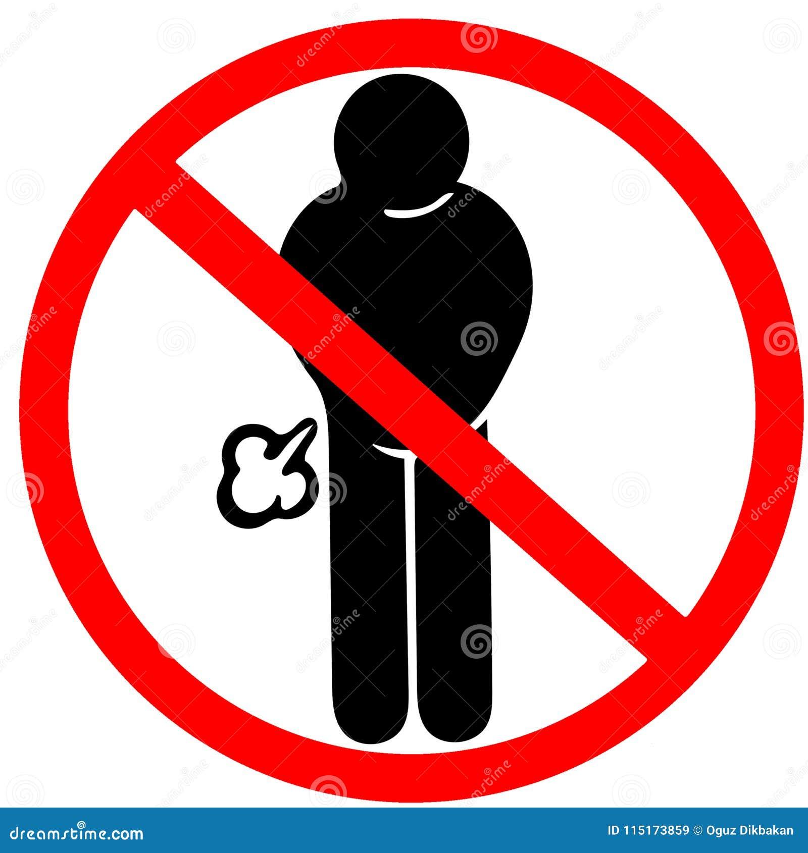 Lebensmittel verursacht möglicherweise nicht Gas farting verboten, Verkehrsschild zu warnen der rote Kreis, der auf Weiß lokalisi