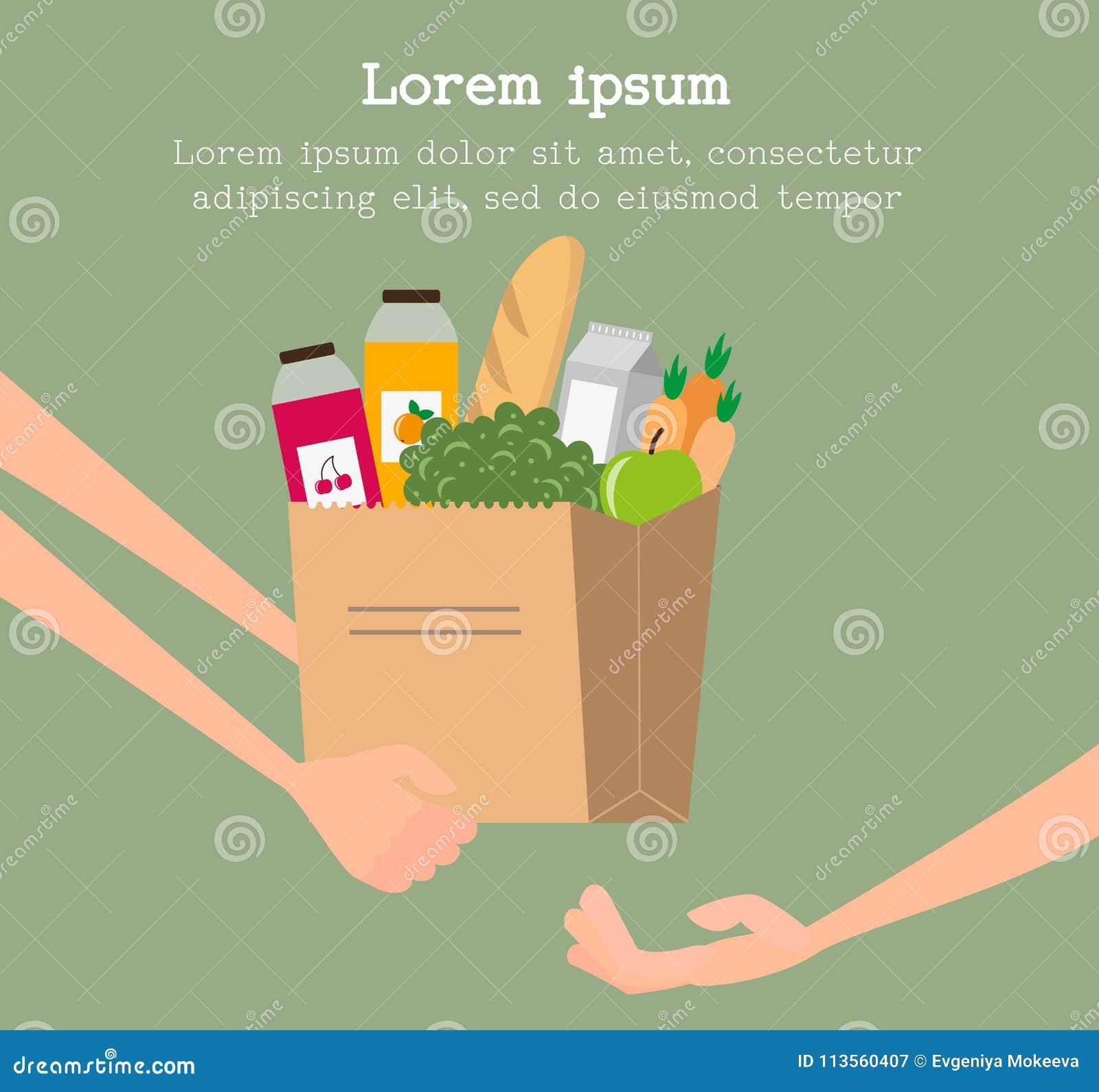 Lebensmittelgeschäftlieferungsservicekonzept mit der Papiertüte voll vom Lebensmittel