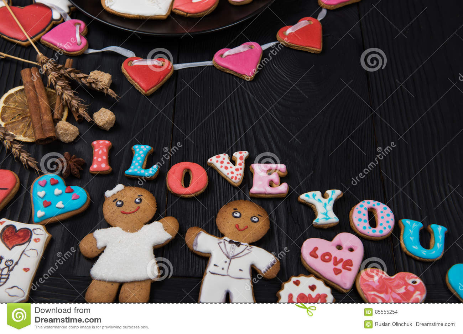 Lebkuchen für Valentinsgruß-Tag