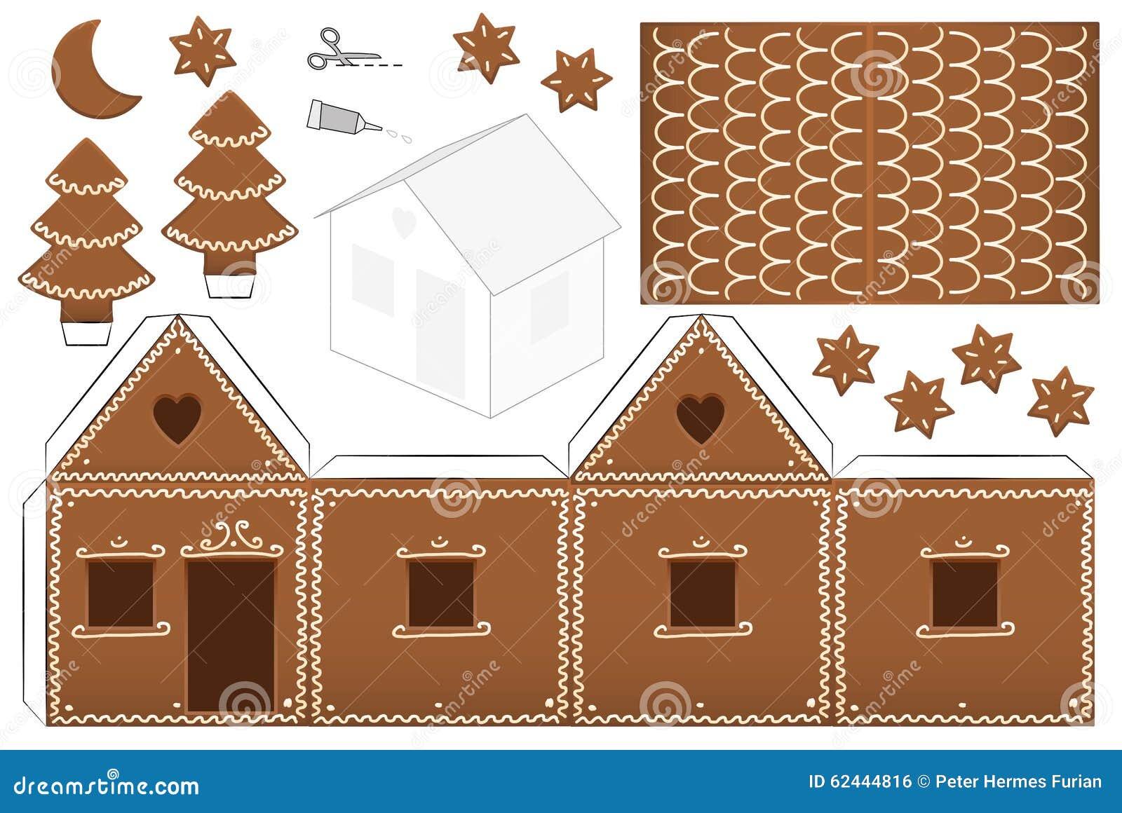 Lebkuchen Haus Papier Modell Vektor Abbildung
