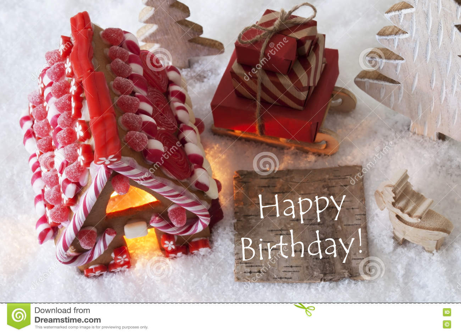 Lebkuchen Haus Schlitten Schnee Simsen Alles Gute Zum Geburtstag