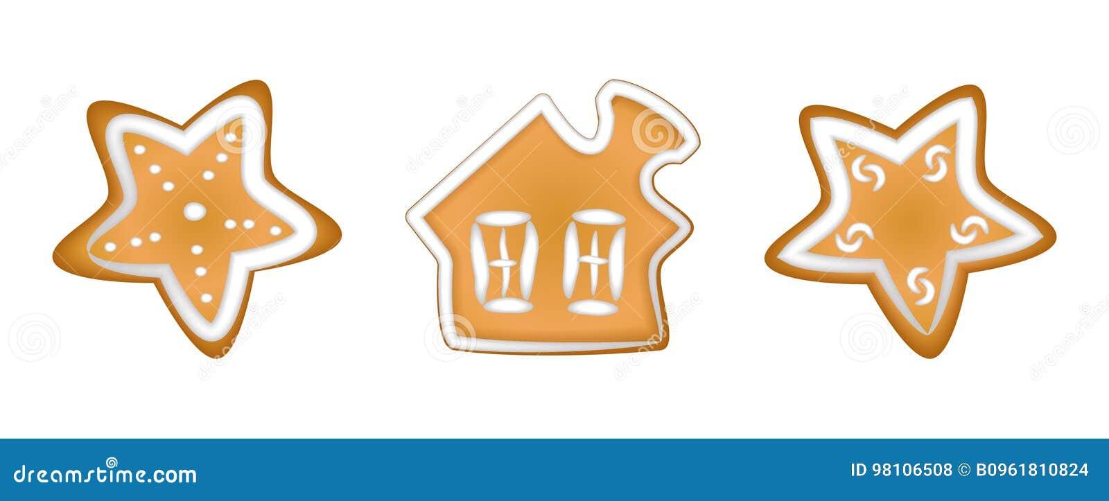 Weihnachtsplätzchen Glasur.Lebkuchen Mit Glasur Weihnachten Handmade Zeichnung Vektor Abbildung