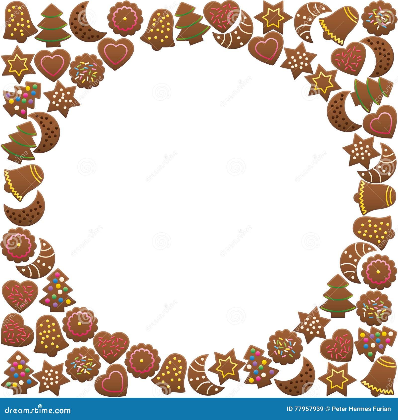 Lebkuchen-Plätzchen-runder Rahmen Vektor Abbildung - Illustration ...