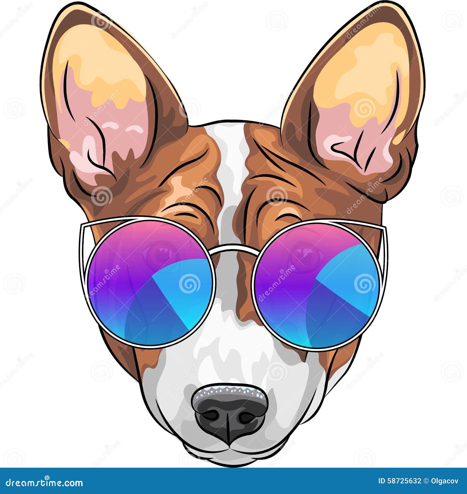 Lebreiro sério do cão do moderno do vetor nos vidros