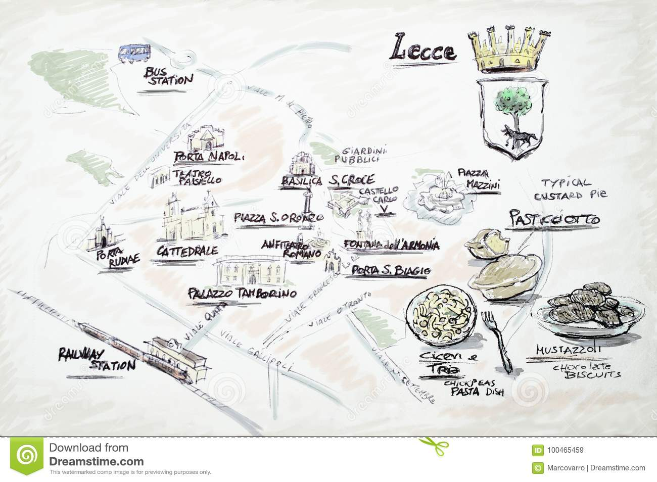 Lecce doodle map stock illustration. Illustration of coats ...