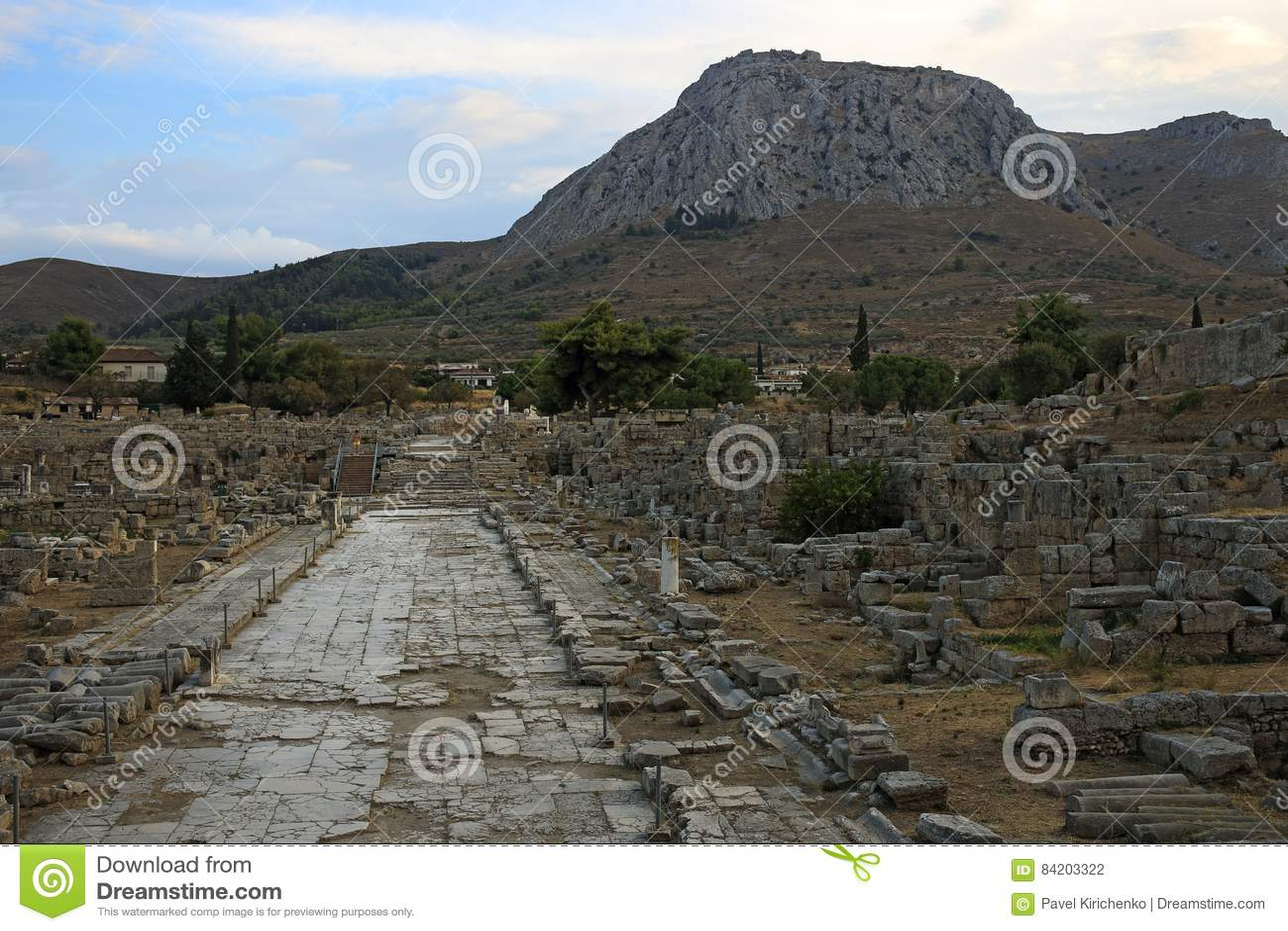 Lechaio road in Ancient Corinth, Greece