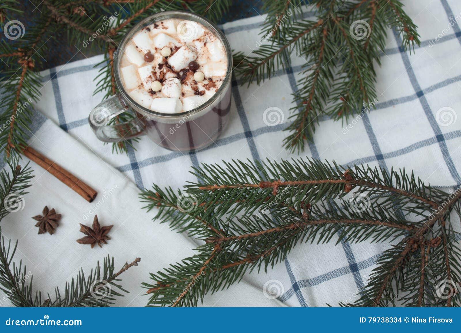 Leche de la Navidad con el chocolate, cacao