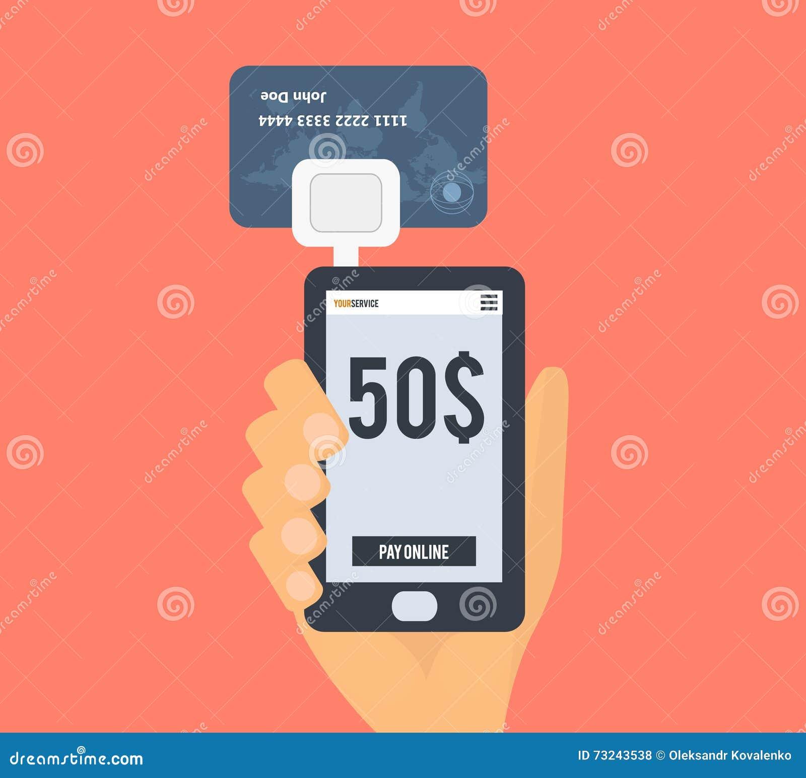 lecteur de carte de cr dit de smartphone main avec la carte et le dispositif de banque de. Black Bedroom Furniture Sets. Home Design Ideas