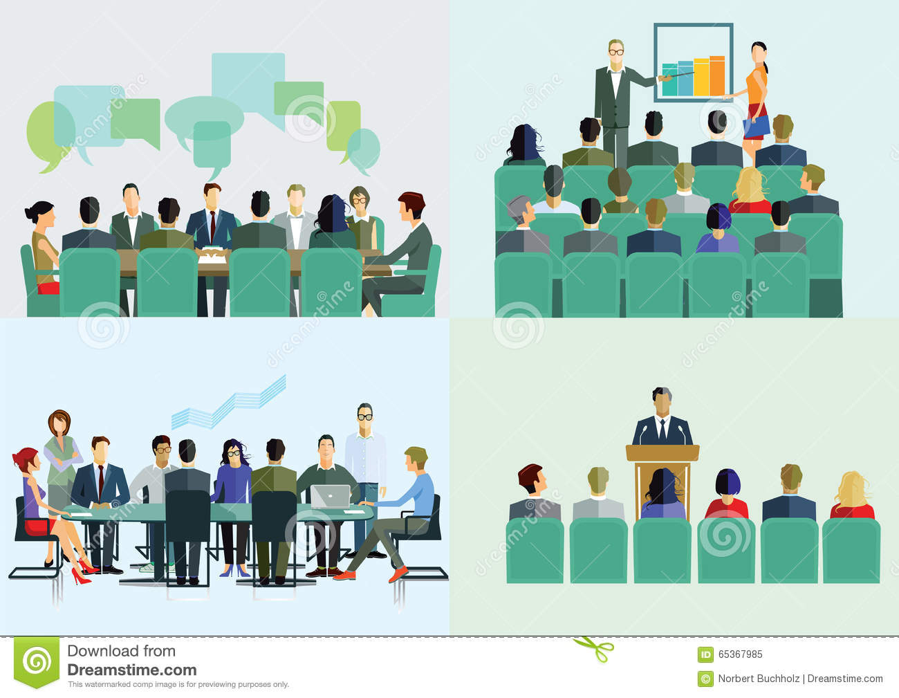 Lecture Course And Seminar Stock Vector Illustration Of Businesswomen Summit 65367985