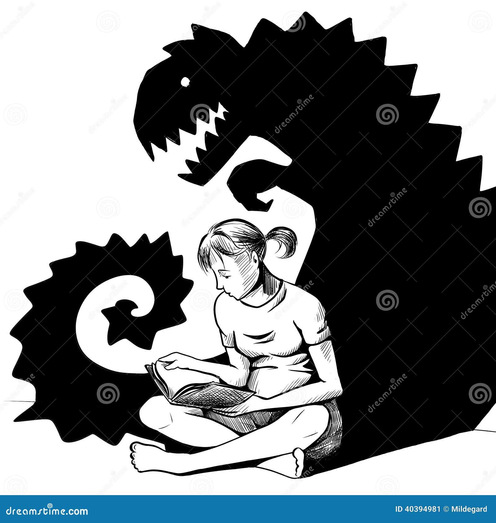 Lecture D Une Histoire D Horreur Image Stock Illustration