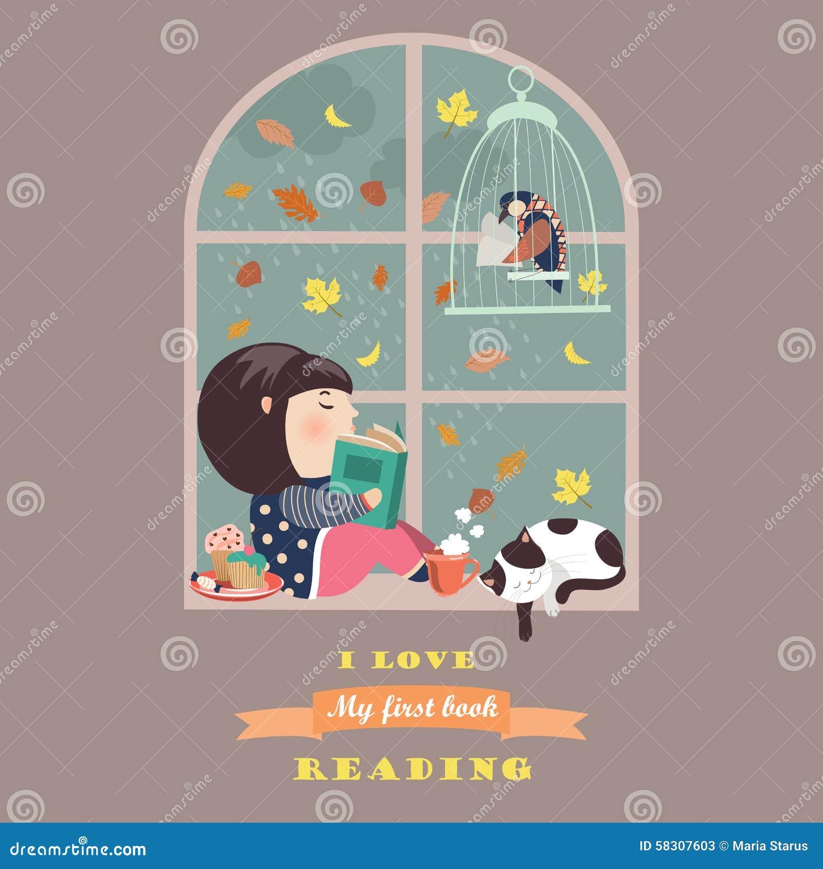Lecture de fille par la fenêtre