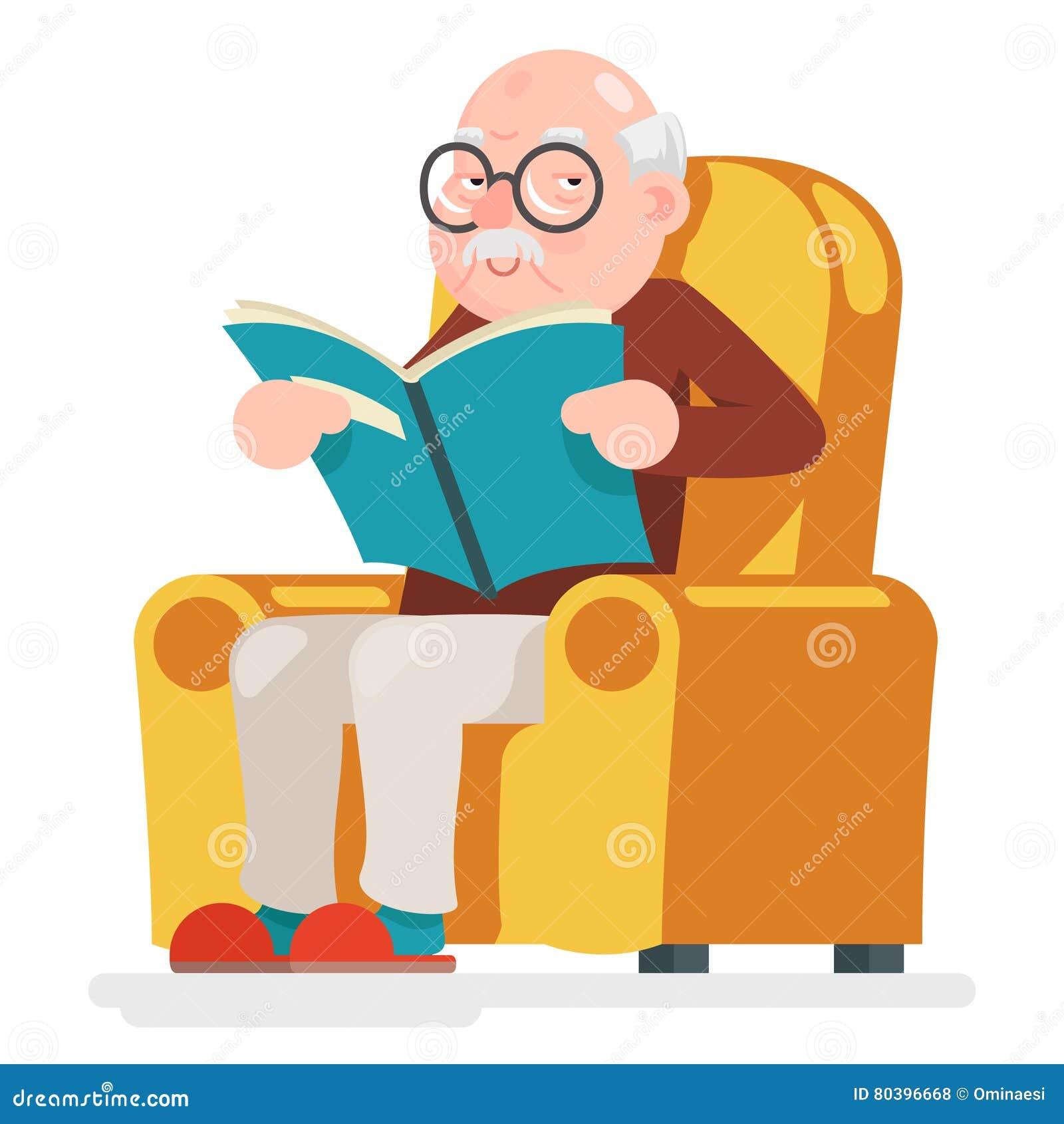 Lecture de l illustration de vecteur de Sit Adult Icon Cartoon Design de caractère de vieil homme