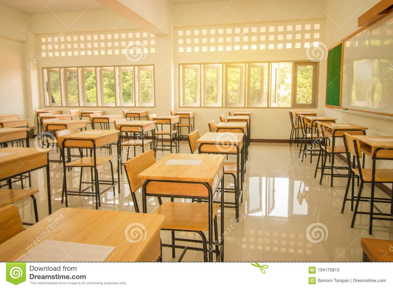 Lecture room or School empty classroom with desks and chair iron