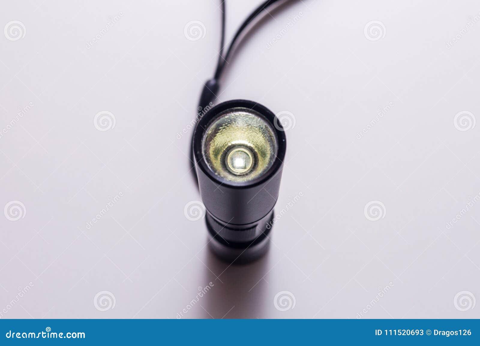 LED aluminium flashlight. Black torch.