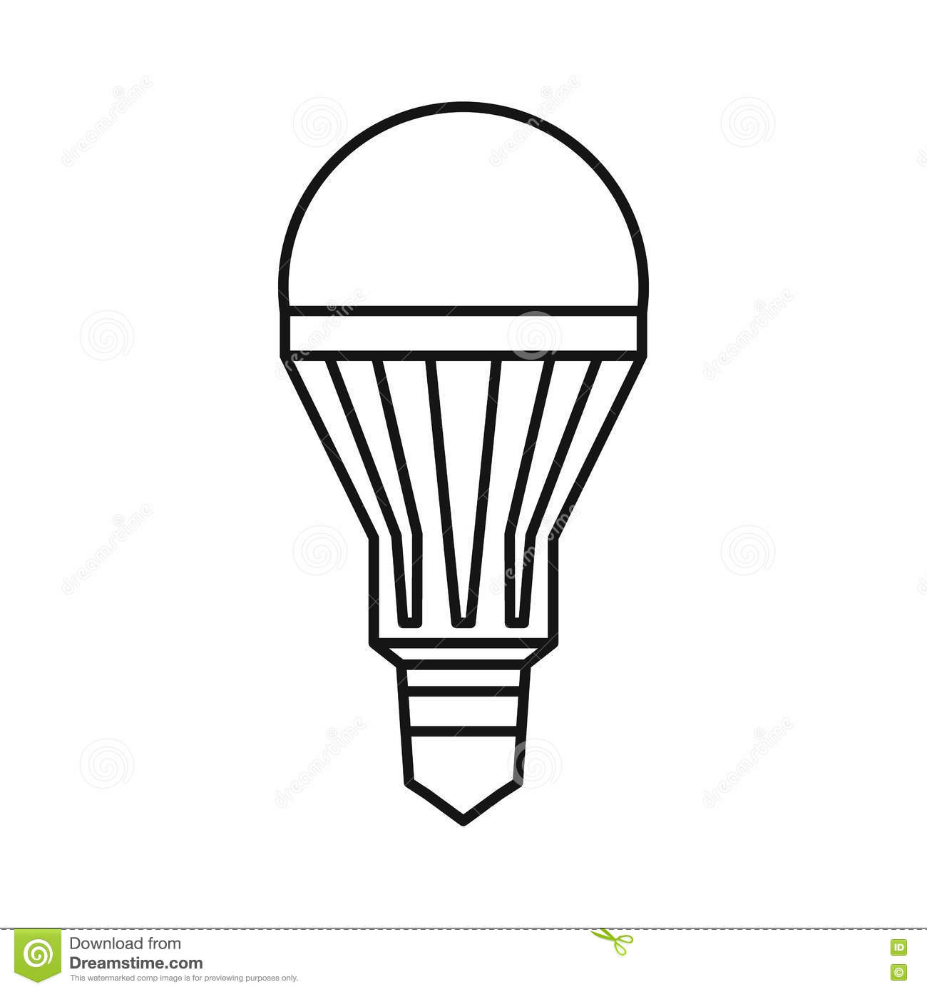 LED Energy Saving Light Bulb Line Icon. Vector ...