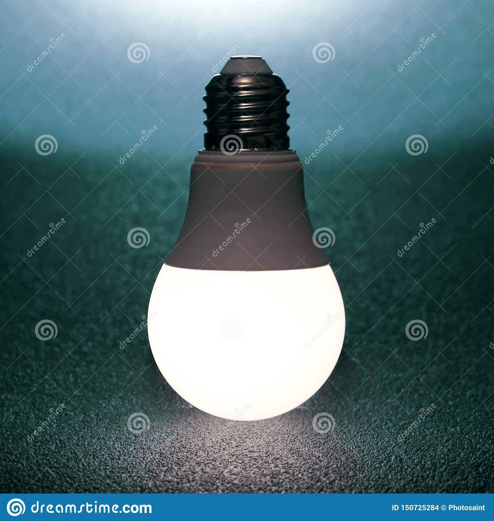 Led Bulb Included On A Dark Background. Everyday Household ...