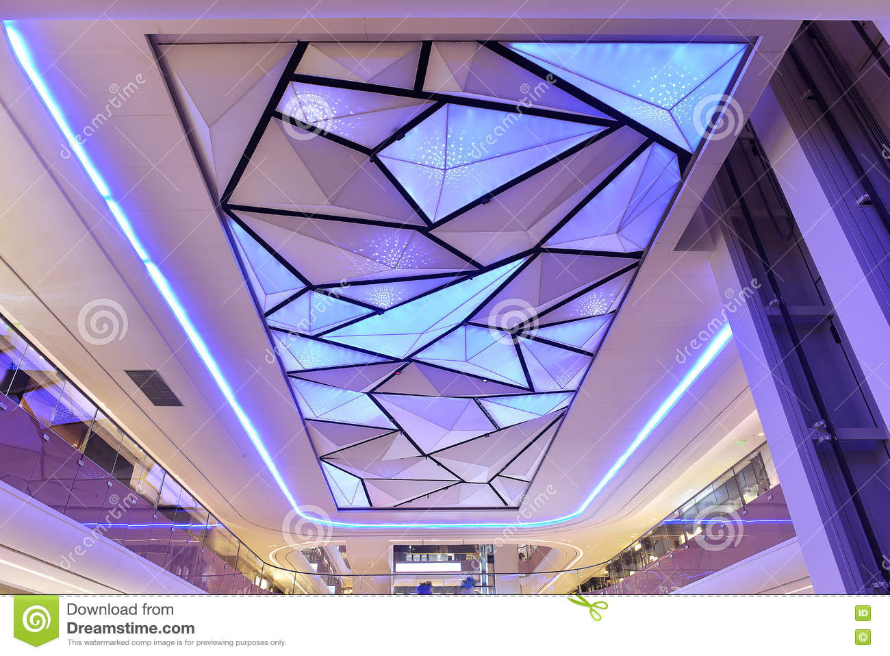 Led ceiling of commercial building