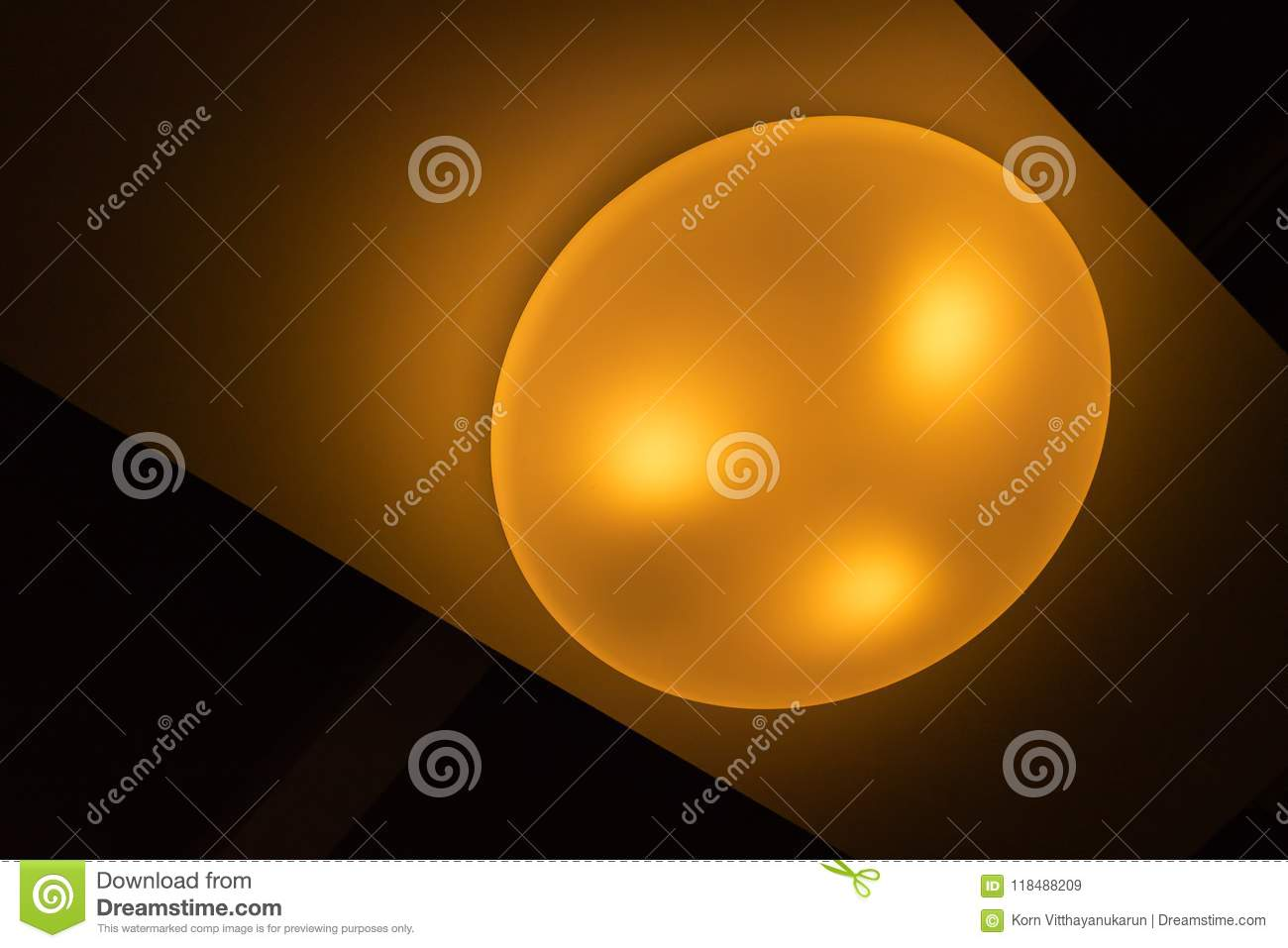 Led ceiling lamp light stock image  Image of night, yellow
