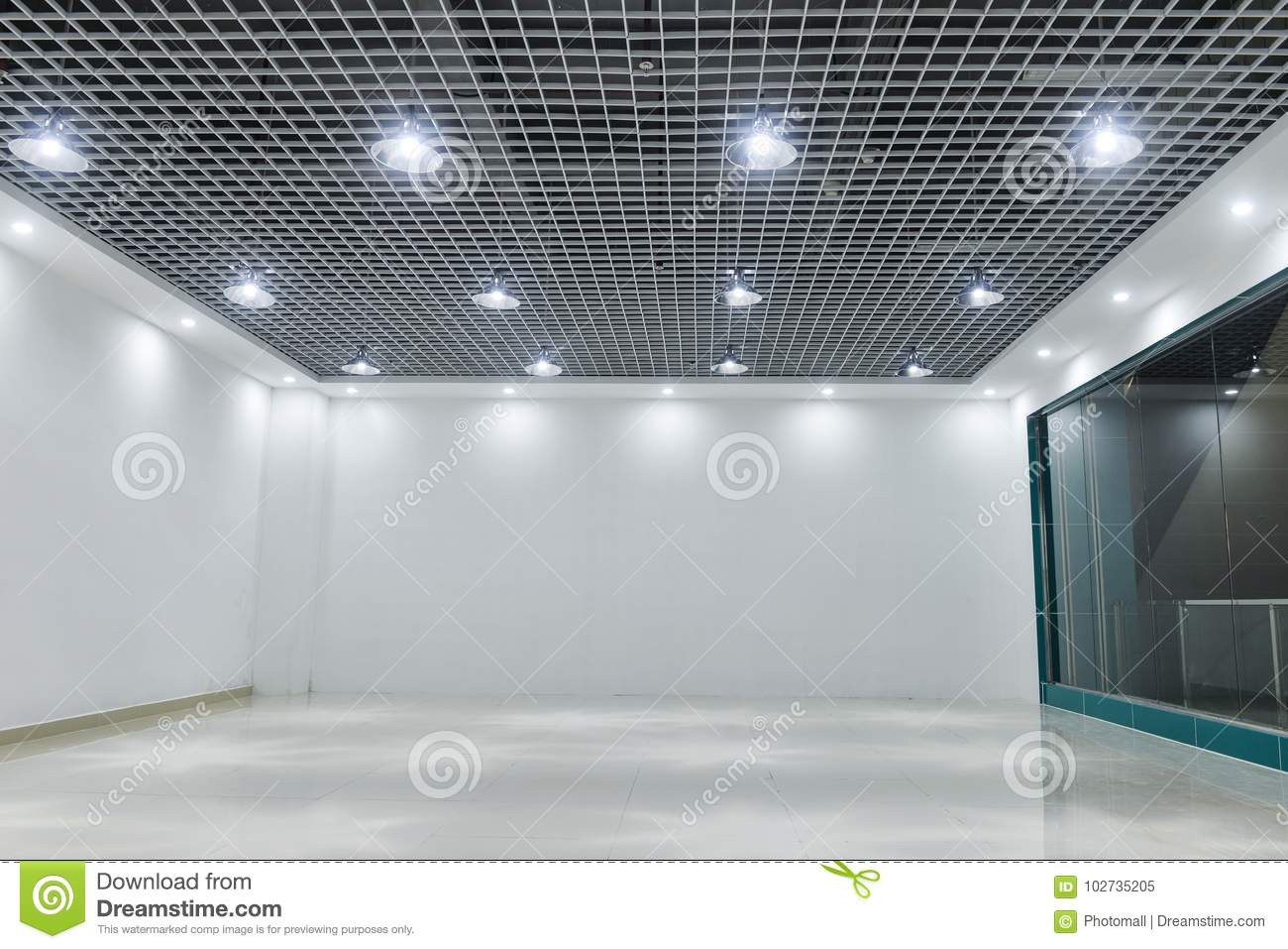 Led ceiling lights on modern commercial building ceiling
