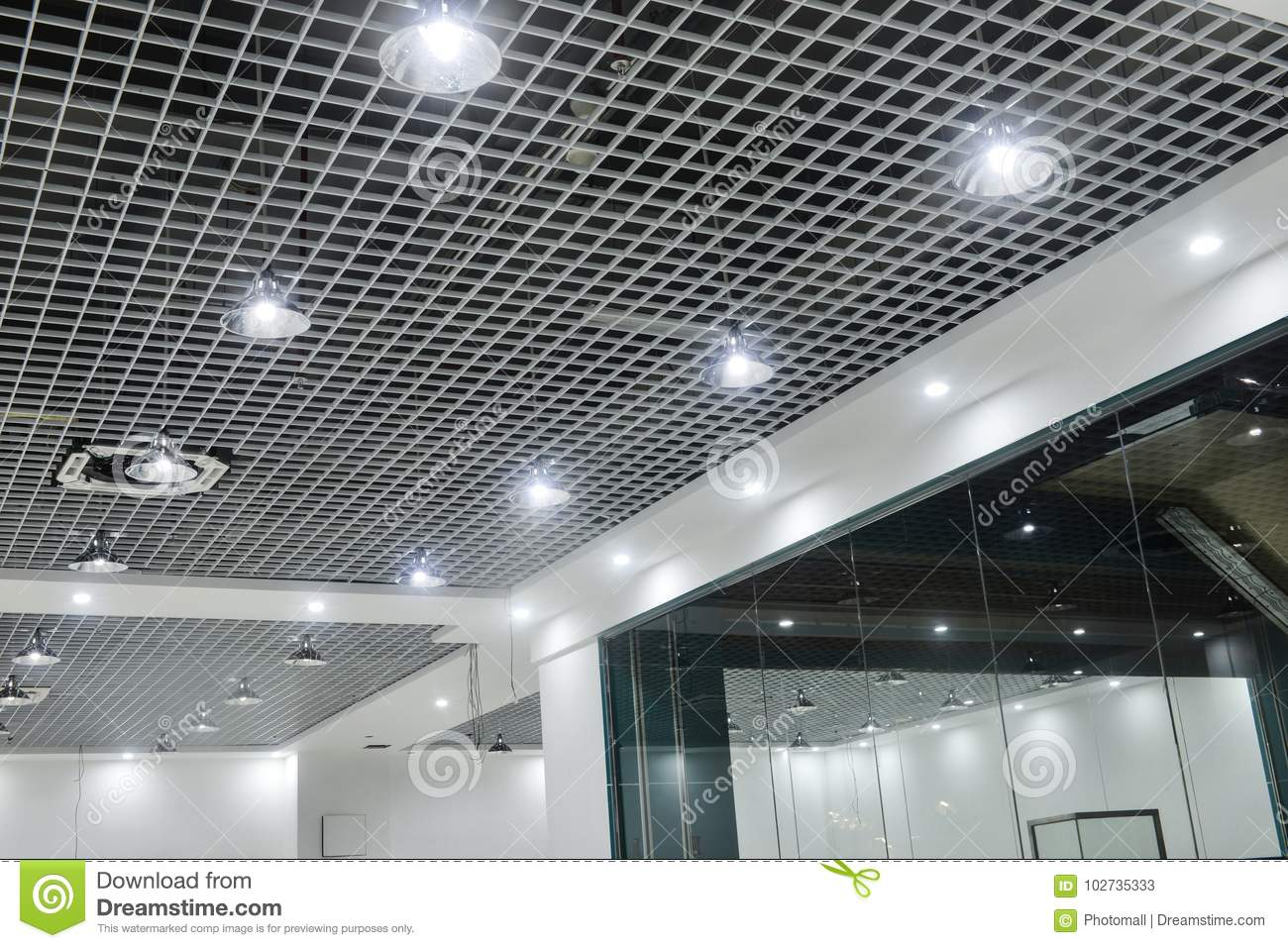 Led Ceiling Lights On Modern Commercial Building Suspended Ceiling Stock Image Image Of Commercial Glass 102735333