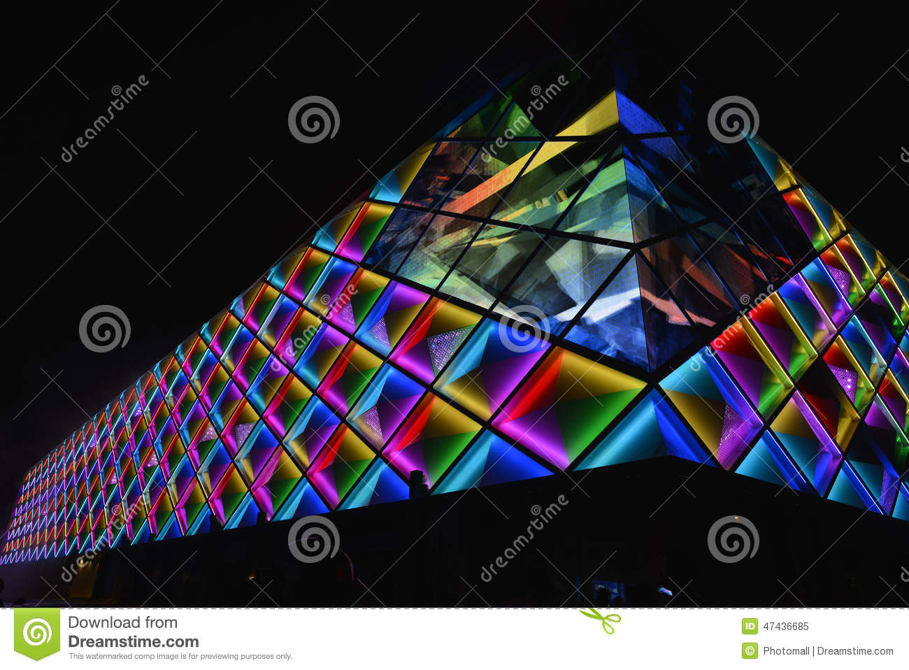Download Led Curtain Wallnight Lighting Of Modern Commercial Building Stock Image