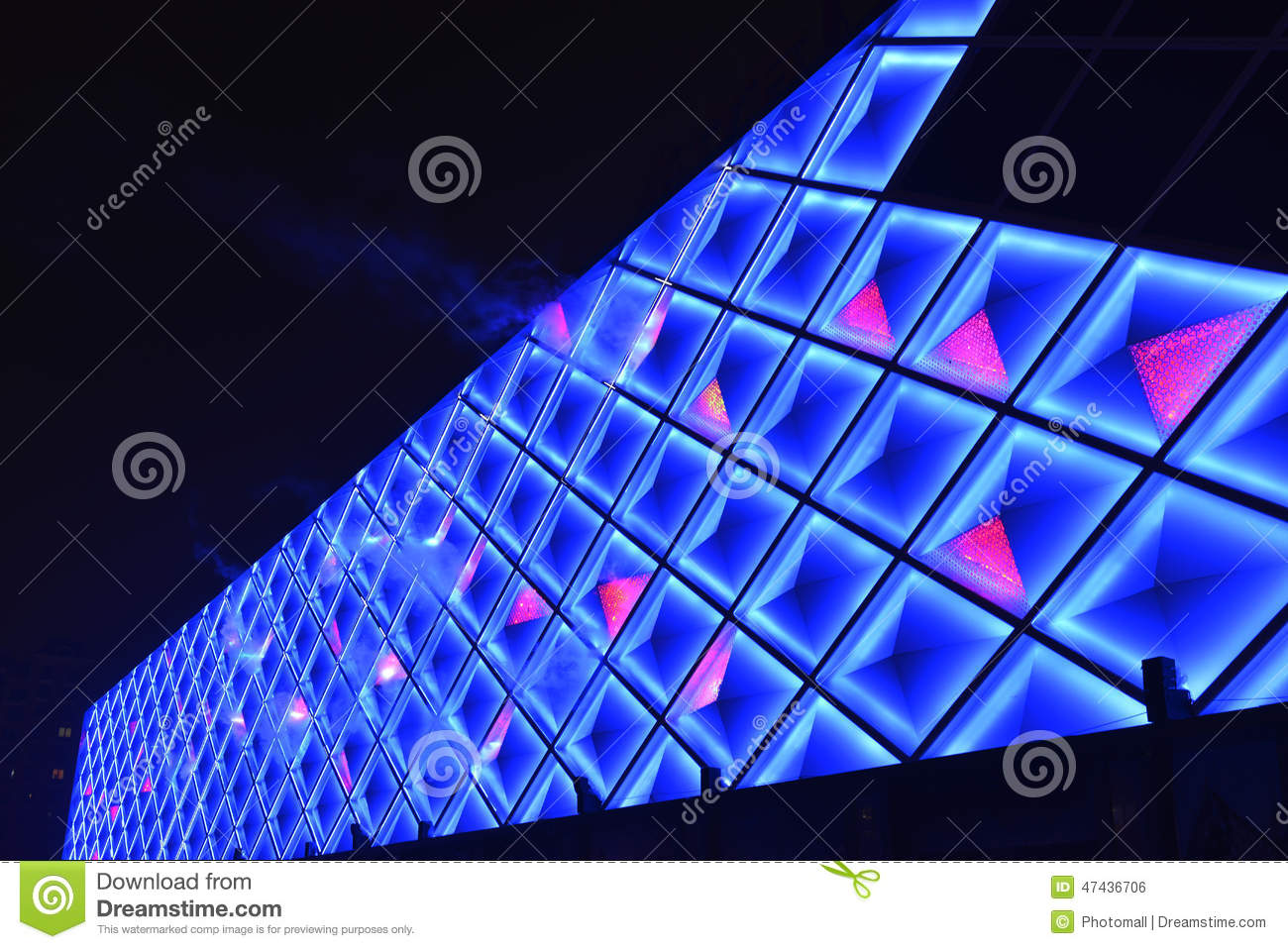 Led curtain wallnight lighting of modern commercial building stock download comp aloadofball Images