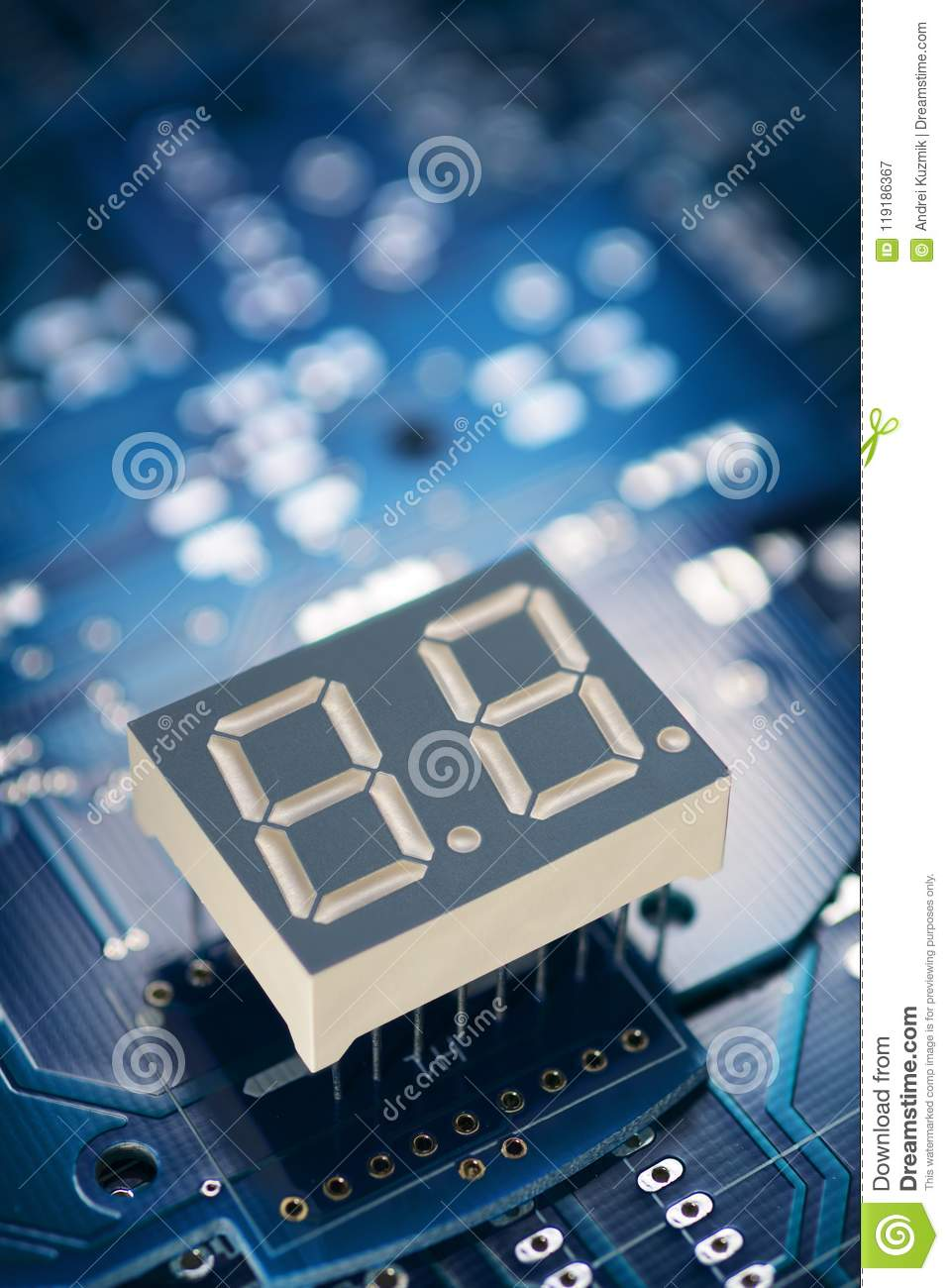 Printed Circuit Board And Display Stock Image Of Led