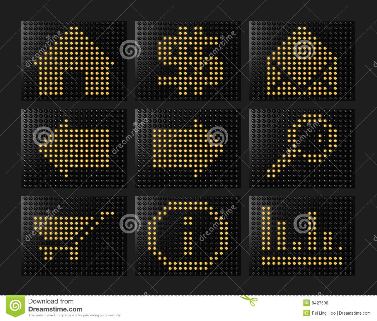 Led effect icons formed by balls