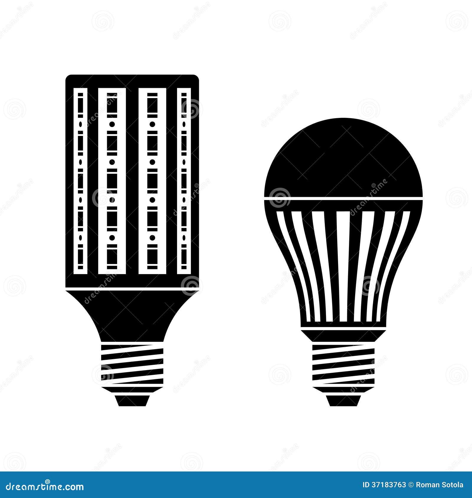 LED Energy Saving Lamp Bulb Symbols Stock Vector - Illustration of ...