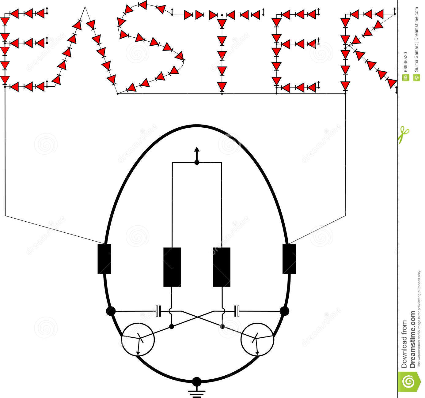 Flashing Light Schematic Diagrams Memo Board Circuit Led Easter Egg Stock Vector Illustration Of Intermittent