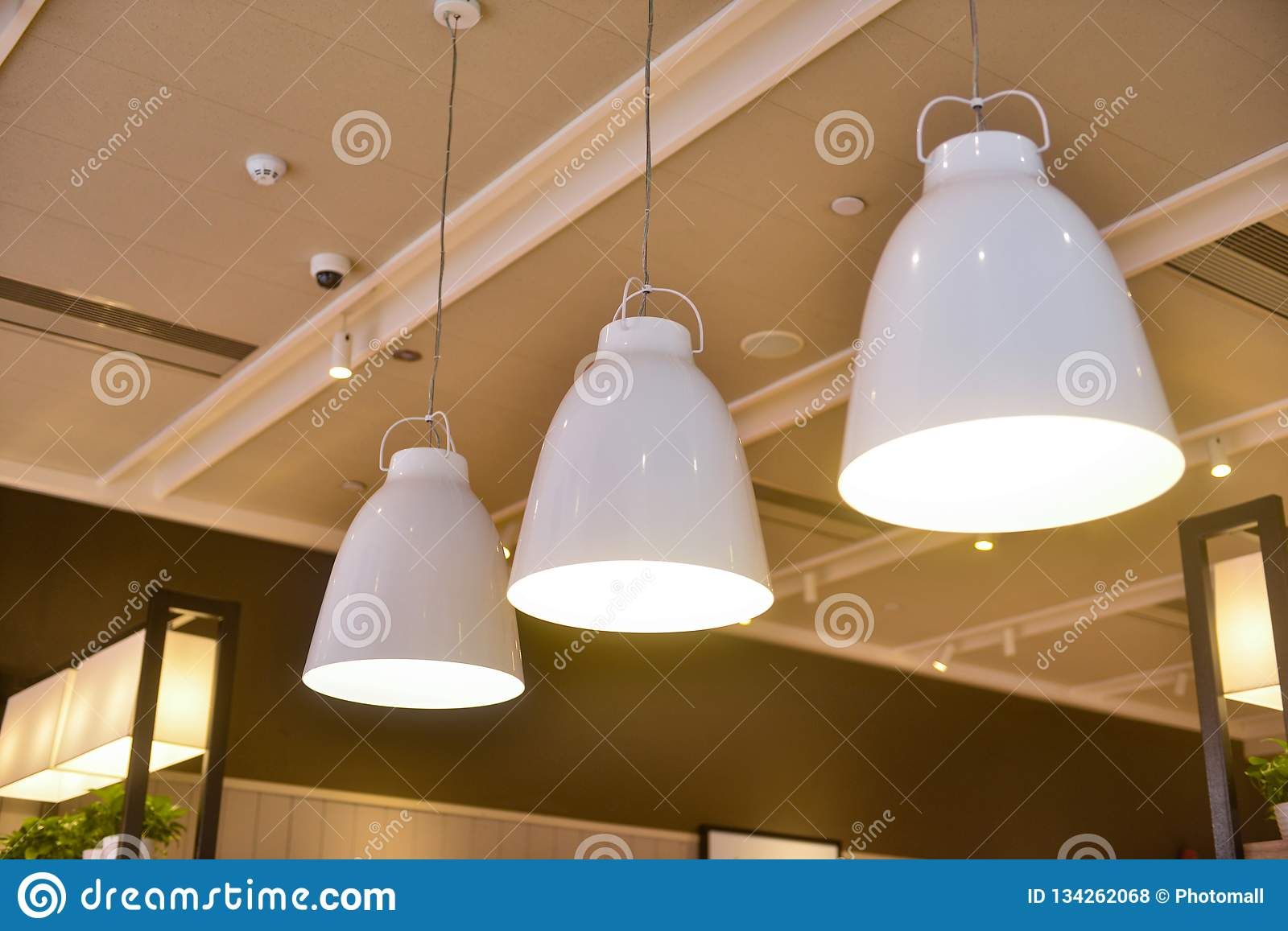 Led Hanging Lighting In Commercial Building Stock Photo Image Of Door Carving 134262068