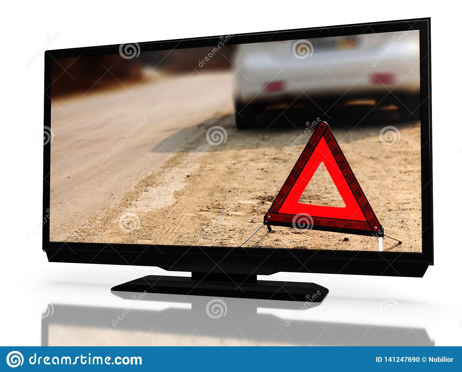 LED LCD Tv With A Show About Car Problems On It`s Screen